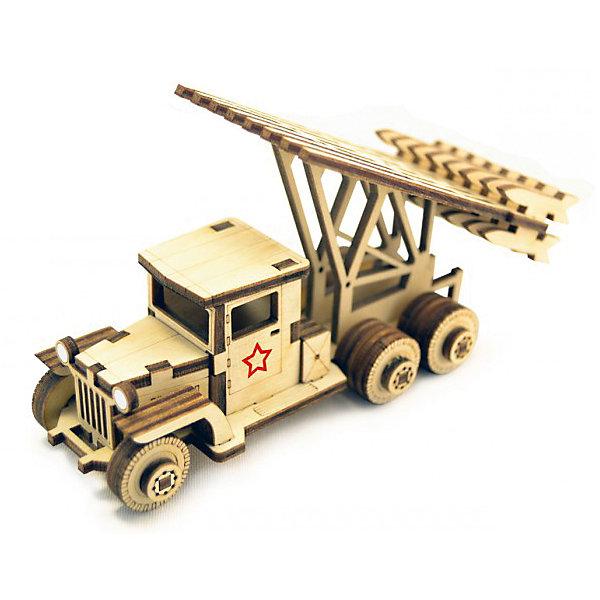 Деревянный  3D конструктор подвижный Катюша, LemmoДеревянные модели<br>Характеристики товара:<br><br>• количество деталей: 58;<br>• в комплекте: детали, клей ПВА, наждачная бумага, инструкция;<br>• материал: дерево;<br>• размер упаковки: 5х8х12,5 см;<br>• вес: 70 грамм;<br>• возраст: от 5 лет.<br><br>Деревянный 3D конструктор предназначен для детей от 5 лет. В комплект входят 58 деталей для сборки, клей ПВА, наждачная бумага и инструкция с иллюстрациями. Детали изготовлены из качественной древесины с приятным насыщенным запахом дерева.<br><br>Соединив детали клеем, ребенок соберет пусковую установку «Катюша». Колеса готовой модели подвижны. При желании «Катюшу» можно окрасить гуашью или акриловыми красками.<br><br>Деревянный  3D конструктор подвижный Катюша, Lemmo (Леммо) в нашем интернет-магазине.<br>Ширина мм: 200; Глубина мм: 100; Высота мм: 10; Вес г: 70; Возраст от месяцев: 60; Возраст до месяцев: 2147483647; Пол: Мужской; Возраст: Детский; SKU: 6918923;