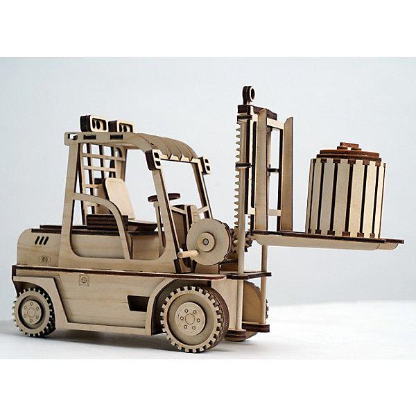 Деревянный  3D конструктор подвижный Погрузчик, LemmoДеревянные модели<br>Характеристики товара:<br><br>• количество деталей: 123;<br>• в комплекте: детали, клей ПВА, наждачная бумага, инструкция;<br>• материал: дерево;<br>• размер упаковки: 16,5х10,5х28,5см;<br>• вес: 350 грамм;<br>• возраст: от 5 лет.<br>• страна производства: Россия<br><br>С помощью деревянного конструктора Lemmo мальчик сможет собрать красивую игрушку своими руками. Конструктор подходит для детей от 5 лет. Дети старше 7 лет смогут справиться со сборкой самостоятельно, без помощи родителей. Если ребенок правильно соединит детали, получится уменьшенная копия погрузчика. Проявив фантазию, юный строитель сможет раскрасить фигурку гуашью или акриловыми красками. Погрузчик хорошо ездит по любой поверхности и имеет подвижные элементы: открывающиеся дверцы, подвижные колеса и грузовая платформа.<br><br>В комплект входят 123 детали для сборки, клей ПВА, наждачная бумага и наглядная инструкция. Детали изготовлены из экологически чистой древесины с приятным древесным ароматом. Игра с 3D конструктором развивает моторику рук, пространственное и логическое мышление.<br><br>Деревянный  3D конструктор подвижный Погрузчик, Lemmo (Леммо) можно купить в нашем интернет-магазине.<br><br>Ширина мм: 285<br>Глубина мм: 105<br>Высота мм: 165<br>Вес г: 350<br>Возраст от месяцев: 60<br>Возраст до месяцев: 2147483647<br>Пол: Мужской<br>Возраст: Детский<br>SKU: 6918929