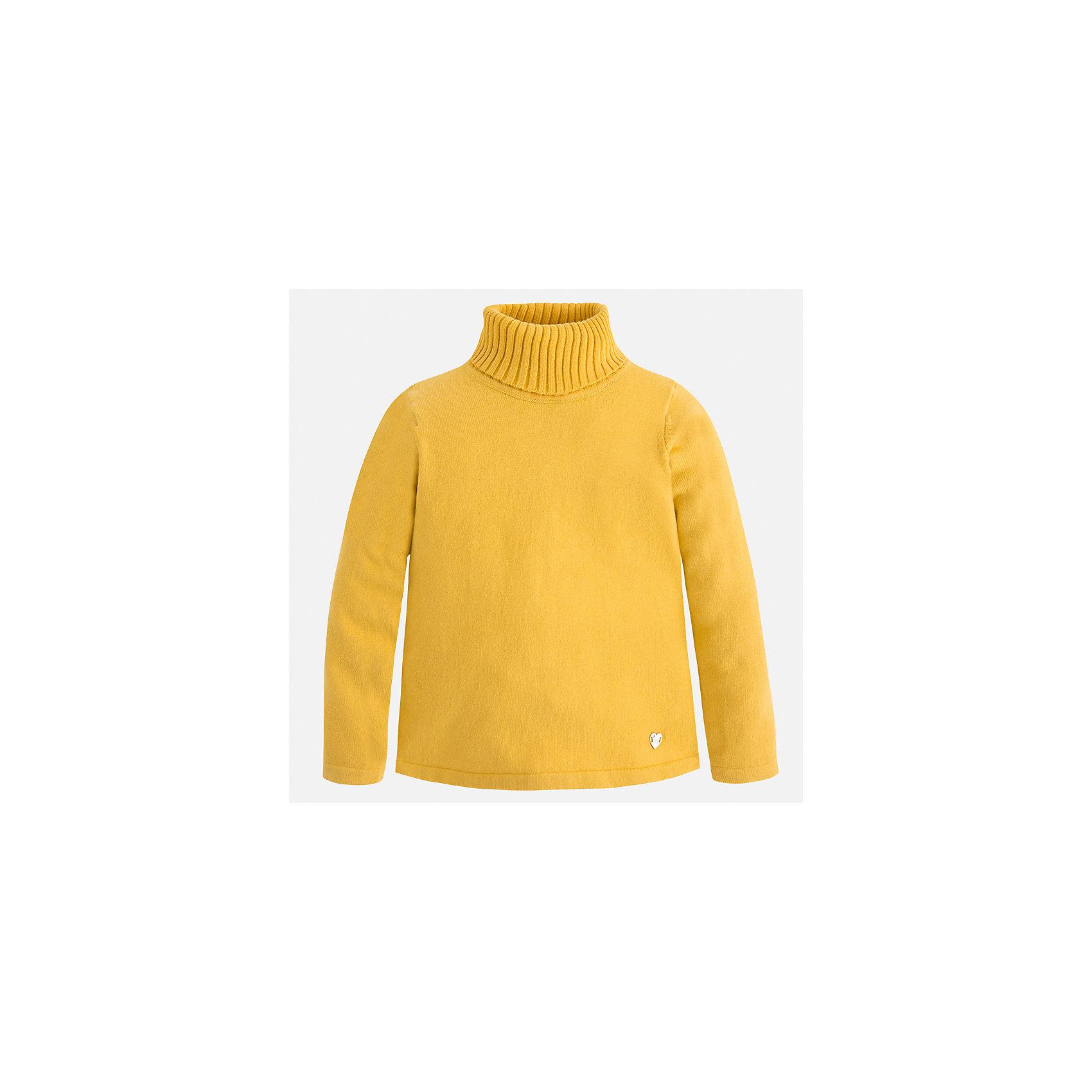 Водолазка Mayoral для девочкиВодолазки<br>Характеристики товара:<br><br>• цвет: желтый<br>• состав ткани: 80% хлопок, 17% полиамид, 3% эластан<br>• сезон: демисезон<br>• особенности: высокий ворот<br>• длинные рукава<br>• страна бренда: Испания<br>• страна изготовитель: Индия<br><br>Этот свитер для девочки Mayoral удобно сидит по фигуре. Стильный детский свитер сделан из приятного на ощупь материала. Отличный способ обеспечить ребенку комфорт и аккуратный внешний вид - надеть детский свитер от Mayoral. <br><br>Свитер для девочки Mayoral (Майорал) можно купить в нашем интернет-магазине.<br><br>Ширина мм: 190<br>Глубина мм: 74<br>Высота мм: 229<br>Вес г: 236<br>Цвет: желтый<br>Возраст от месяцев: 96<br>Возраст до месяцев: 108<br>Пол: Женский<br>Возраст: Детский<br>Размер: 134,104,110,116,122,128<br>SKU: 6919901