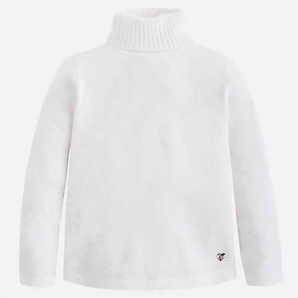 Водолазка Mayoral для девочкиВодолазки<br>Характеристики товара:<br><br>• цвет: белый<br>• состав ткани: 80% хлопок, 17% полиамид, 3% эластан<br>• сезон: демисезон<br>• особенности: высокий ворот<br>• длинные рукава<br>• страна бренда: Испания<br>• страна изготовитель: Индия<br><br>Белый свитер для девочки от Майорал подарит ребенку комфорт и тепло. Детский свитер отличается модным и продуманным дизайном. В свитере для девочки от испанской компании Майорал ребенок будет выглядеть модно, а чувствовать себя - комфортно. <br><br>Свитер для девочки Mayoral (Майорал) можно купить в нашем интернет-магазине.<br>Ширина мм: 190; Глубина мм: 74; Высота мм: 229; Вес г: 236; Цвет: белый; Возраст от месяцев: 96; Возраст до месяцев: 108; Пол: Женский; Возраст: Детский; Размер: 134,92,98,104,110,116,122,128; SKU: 6919908;