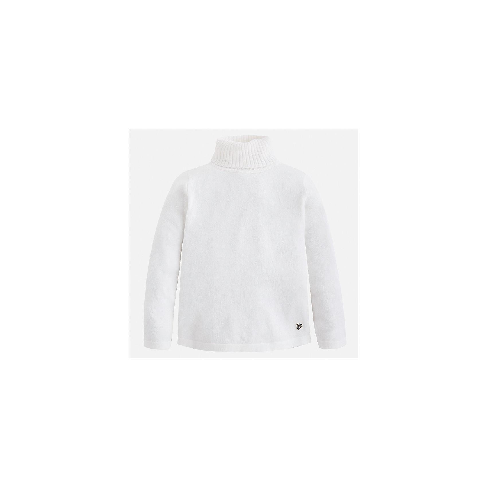 Водолазка Mayoral для девочкиВодолазки<br>Характеристики товара:<br><br>• цвет: белый<br>• состав ткани: 80% хлопок, 17% полиамид, 3% эластан<br>• сезон: демисезон<br>• особенности: высокий ворот<br>• длинные рукава<br>• страна бренда: Испания<br>• страна изготовитель: Индия<br><br>Белый свитер для девочки от Майорал подарит ребенку комфорт и тепло. Детский свитер отличается модным и продуманным дизайном. В свитере для девочки от испанской компании Майорал ребенок будет выглядеть модно, а чувствовать себя - комфортно. <br><br>Свитер для девочки Mayoral (Майорал) можно купить в нашем интернет-магазине.<br><br>Ширина мм: 190<br>Глубина мм: 74<br>Высота мм: 229<br>Вес г: 236<br>Цвет: белый<br>Возраст от месяцев: 96<br>Возраст до месяцев: 108<br>Пол: Женский<br>Возраст: Детский<br>Размер: 134,92,98,104,110,116,122,128<br>SKU: 6919908