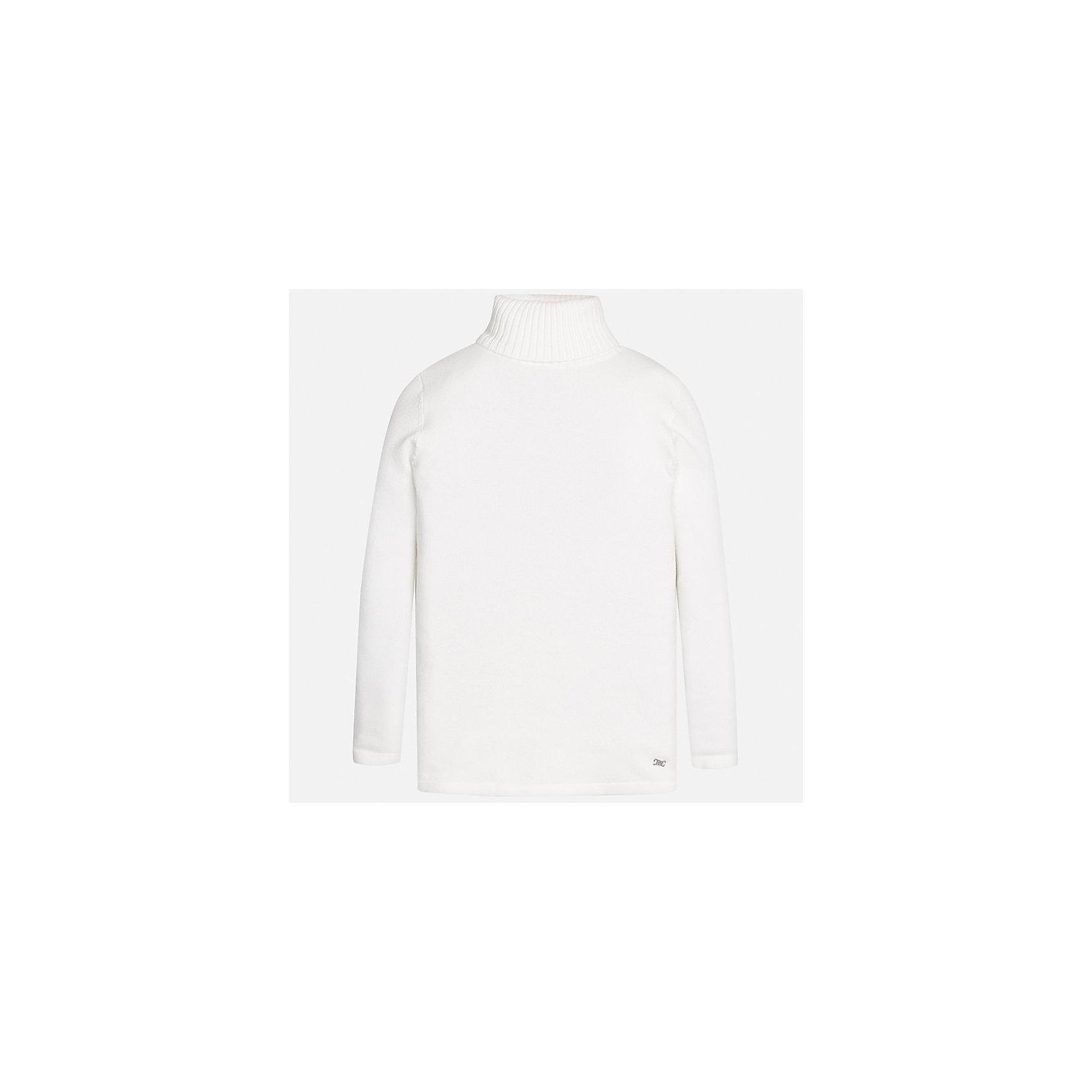 Водолазка Mayoral для девочкиВодолазки<br>Характеристики товара:<br><br>• цвет: белый<br>• состав ткани: 80% хлопок, 17% полиамид, 3% эластан<br>• сезон: демисезон<br>• особенности: высокий ворот<br>• длинные рукава<br>• страна бренда: Испания<br>• страна изготовитель: Индия<br><br>Белый свитер для девочки Mayoral удобно сидит по фигуре. Этот детский свитер сделан из дышащего эластичного материала. Простой способ обеспечить ребенку комфорт и аккуратный внешний вид - надеть детский свитер от Mayoral. <br><br>Свитер для девочки Mayoral (Майорал) можно купить в нашем интернет-магазине.<br><br>Ширина мм: 190<br>Глубина мм: 74<br>Высота мм: 229<br>Вес г: 236<br>Цвет: белый<br>Возраст от месяцев: 168<br>Возраст до месяцев: 180<br>Пол: Женский<br>Возраст: Детский<br>Размер: 170,128/134,140,152,158,164<br>SKU: 6920014