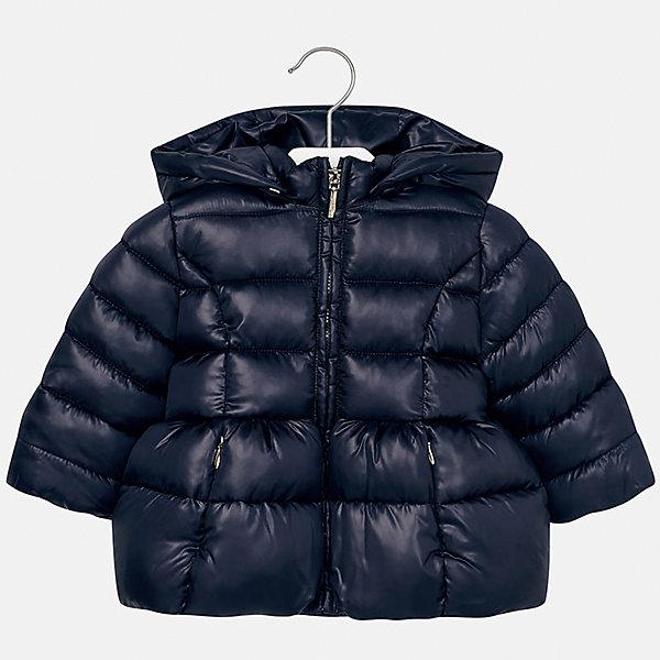 Куртка Mayoral для девочкиВерхняя одежда<br>Характеристики товара:<br><br>• цвет: синий<br>• состав ткани: 100% полиэстер<br>• подкладка: 100% полиэстер<br>• утеплитель: 100% полиэстер<br>• сезон: демисезон<br>• температурный режим: от -10 до +10<br>• особенности куртки: дутая, с капюшоном<br>• капюшон: съемный, с рюшами<br>• застежка: молния<br>• страна бренда: Испания<br>• страна изготовитель: Индия<br><br>Теплая демисезонная детская куртка подойдет для переменной погоды. Отличный способ обеспечить ребенку комфорт - надеть теплую куртку от Mayoral. Детская куртка сшита из легкого материала. Куртка для девочки Mayoral дополнена теплой подкладкой. <br><br>Куртку для девочки Mayoral (Майорал) можно купить в нашем интернет-магазине.<br><br>Ширина мм: 356<br>Глубина мм: 10<br>Высота мм: 245<br>Вес г: 519<br>Цвет: темно-синий<br>Возраст от месяцев: 12<br>Возраст до месяцев: 18<br>Пол: Женский<br>Возраст: Детский<br>Размер: 86,98,80,92<br>SKU: 6920059