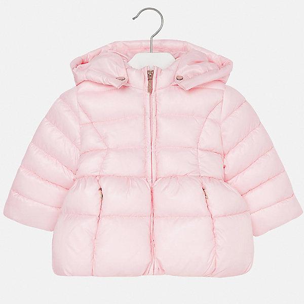 Куртка для девочки MayoralВерхняя одежда<br>Характеристики товара:<br><br>• цвет: розовый<br>• состав ткани: 100% полиэстер<br>• подкладка: 100% полиэстер<br>• утеплитель: 100% полиэстер<br>• сезон: демисезон<br>• температурный режим: от -10 до +10<br>• особенности куртки: дутая, с капюшоном<br>• капюшон: съемный, с рюшами<br>• застежка: молния<br>• страна бренда: Испания<br>• страна изготовитель: Индия<br><br>Такая утепленная демисезонная детская куртка подойдет для переменной погоды. Отличный способ обеспечить ребенку комфорт - надеть теплую куртку от Mayoral. Детская куртка сшита из легкого материала. Куртка для девочки Mayoral дополнена теплой подкладкой. <br><br>Куртку для девочки Mayoral (Майорал) можно купить в нашем интернет-магазине.<br><br>Ширина мм: 356<br>Глубина мм: 10<br>Высота мм: 245<br>Вес г: 519<br>Цвет: блекло-розовый<br>Возраст от месяцев: 12<br>Возраст до месяцев: 15<br>Пол: Женский<br>Возраст: Детский<br>Размер: 80,98,92,86<br>SKU: 6920074
