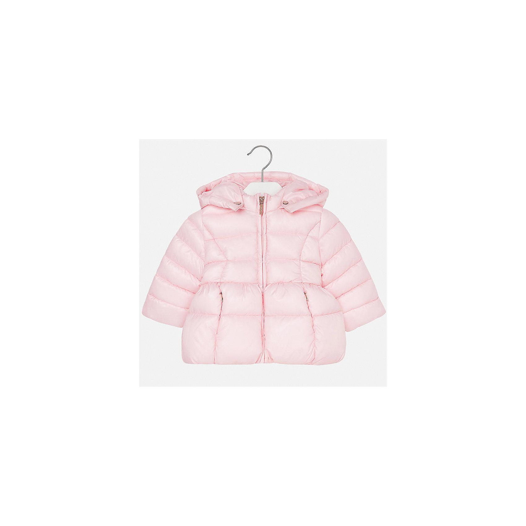 Куртка для девочки MayoralДемисезонные куртки<br>Характеристики товара:<br><br>• цвет: розовый<br>• состав ткани: 100% полиэстер<br>• подкладка: 100% полиэстер<br>• утеплитель: 100% полиэстер<br>• сезон: демисезон<br>• температурный режим: от -10 до +10<br>• особенности куртки: дутая, с капюшоном<br>• капюшон: съемный, с рюшами<br>• застежка: молния<br>• страна бренда: Испания<br>• страна изготовитель: Индия<br><br>Такая утепленная демисезонная детская куртка подойдет для переменной погоды. Отличный способ обеспечить ребенку комфорт - надеть теплую куртку от Mayoral. Детская куртка сшита из легкого материала. Куртка для девочки Mayoral дополнена теплой подкладкой. <br><br>Куртку для девочки Mayoral (Майорал) можно купить в нашем интернет-магазине.<br><br>Ширина мм: 356<br>Глубина мм: 10<br>Высота мм: 245<br>Вес г: 519<br>Цвет: розовый<br>Возраст от месяцев: 24<br>Возраст до месяцев: 36<br>Пол: Женский<br>Возраст: Детский<br>Размер: 98,80,86,92<br>SKU: 6920074