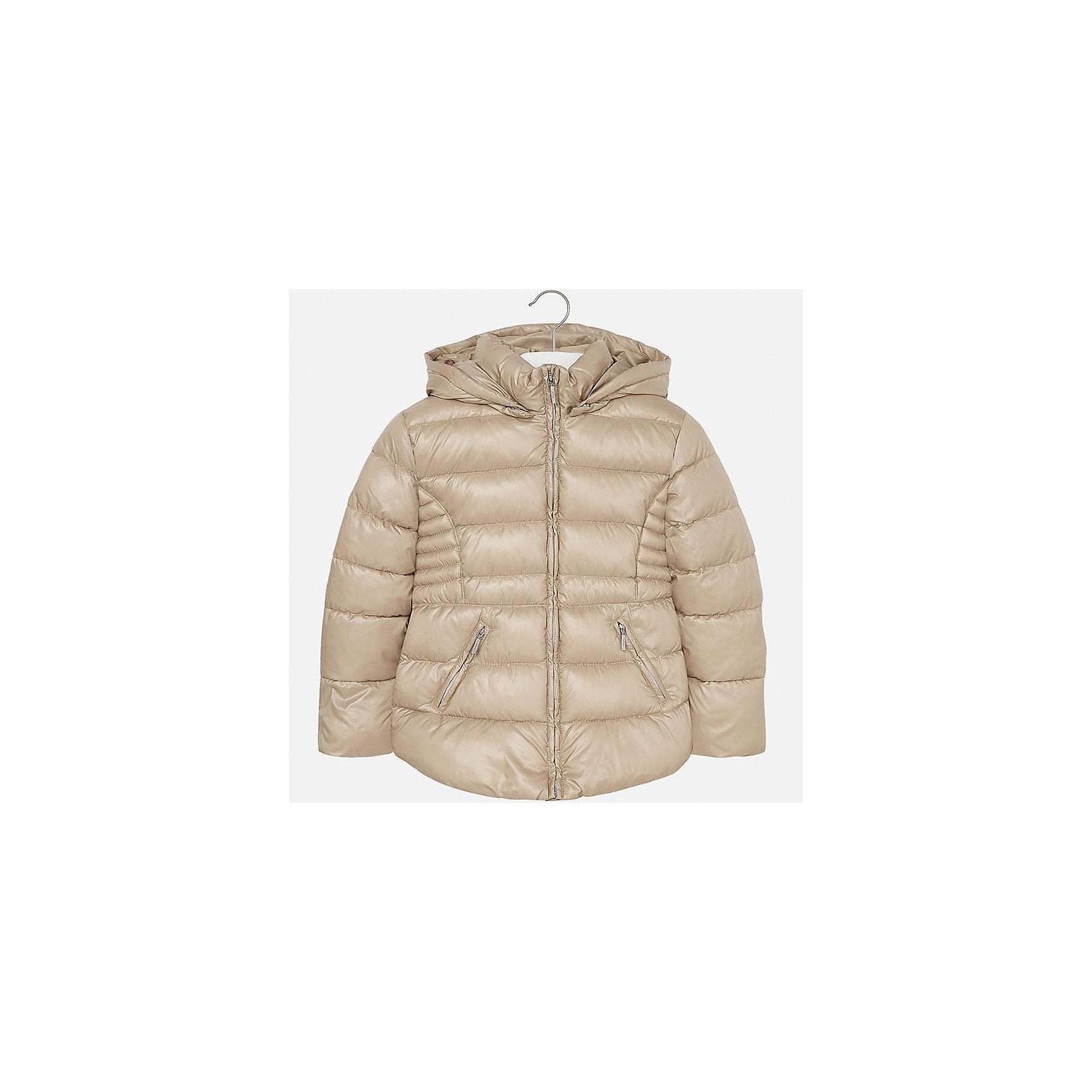 Куртка для девочки MayoralДемисезонные куртки<br>Характеристики товара:<br><br>• цвет: коричневый<br>• состав ткани: 100% полиэстер<br>• подкладка: 100% полиэстер<br>• утеплитель: 100% полиэстер<br>• сезон: демисезон<br>• температурный режим: от -10 до +10<br>• особенности куртки: дутая, с капюшоном<br>• капюшон: съемный<br>• застежка: молния<br>• страна бренда: Испания<br>• страна изготовитель: Индия<br><br>Однотонная детская куртка подойдет для прохладной погоды и небольшого мороза. Благодаря качественной ткани детской куртки для девочки создаются комфортные условия для тела. Стильная девочки для девочки отличается стильным продуманным дизайном.<br><br>Куртку для девочки Mayoral (Майорал) можно купить в нашем интернет-магазине.<br><br>Ширина мм: 356<br>Глубина мм: 10<br>Высота мм: 245<br>Вес г: 519<br>Цвет: бежевый<br>Возраст от месяцев: 168<br>Возраст до месяцев: 180<br>Пол: Женский<br>Возраст: Детский<br>Размер: 170,128/134,140,152,158,164<br>SKU: 6920129
