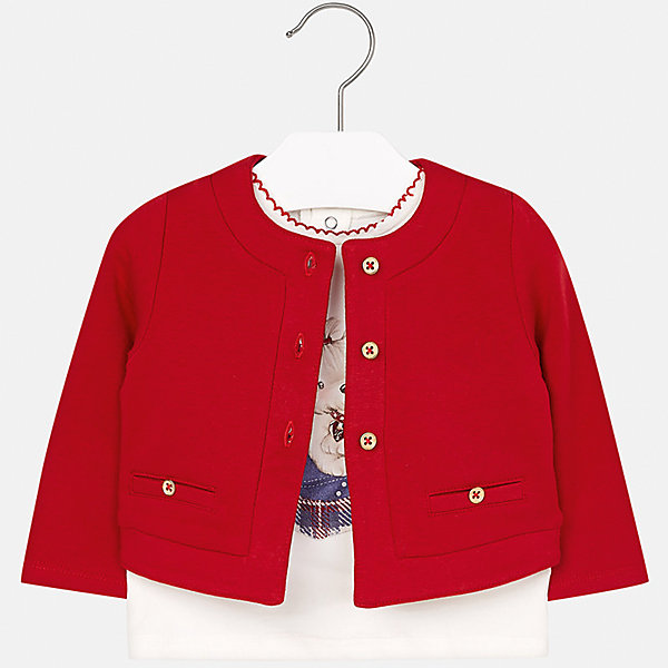 Комплект: блузка и кардиган Mayoral для девочкиКомплекты<br>Характеристики товара:<br><br>• цвет: красный<br>• состав ткани: 95% хлопок, 5% эластан<br>• комплект: блузка и кардиган<br>• сезон: демисезон<br>• особенности: принт с блестками<br>• застежка: пуговицы, кнопки<br>• длинные рукава<br>• страна бренда: Испания<br>• страна изготовитель: Индия<br><br>Этот детский комплект из блузки и кардигана подойдет для любых мероприятий. Отличный способ обеспечить ребенку комфорт - надеть детские блузку и кардиган от Mayoral. Детский кардиган сшит из приятного на ощупь материала. Блуза для девочки Mayoral удобно сидит по фигуре. <br><br>Комплект: блузка и кардиган для девочки Mayoral (Майорал) можно купить в нашем интернет-магазине.<br><br>Ширина мм: 190<br>Глубина мм: 74<br>Высота мм: 229<br>Вес г: 236<br>Цвет: красный<br>Возраст от месяцев: 24<br>Возраст до месяцев: 36<br>Пол: Женский<br>Возраст: Детский<br>Размер: 98,74,80,86,92<br>SKU: 6920294