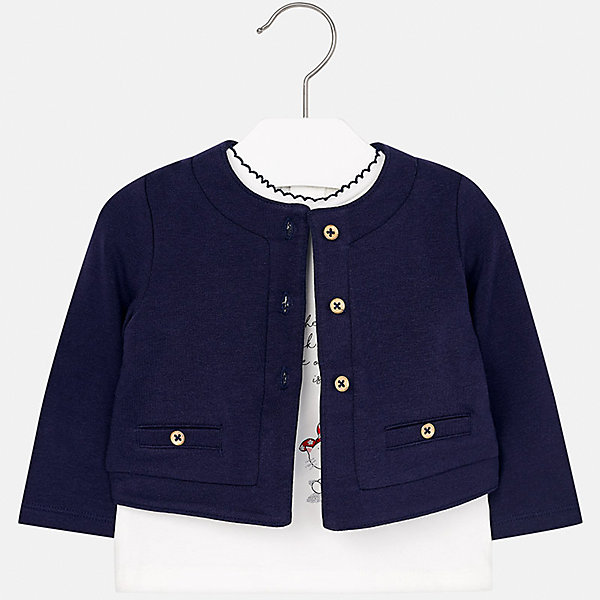 Комплект: блузка и кардиган Mayoral для девочкиКомплекты<br>Характеристики товара:<br><br>• цвет: синий<br>• состав ткани: 95% хлопок, 5% эластан<br>• комплект: блузка и кардиган<br>• сезон: демисезон<br>• особенности: принт с блестками<br>• застежка: пуговицы, кнопки<br>• длинные рукава<br>• страна бренда: Испания<br>• страна изготовитель: Индия<br><br>Детский комплект из блузки и кардигана для девочки сделан из легкого приятного на ощупь материала. Благодаря продуманному крою детской блузки создаются комфортные условия для тела. Кардиган для девочки отличается классическим дизайном.<br><br>Комплект: блузка и кардиган для девочки Mayoral (Майорал) можно купить в нашем интернет-магазине.<br>Ширина мм: 190; Глубина мм: 74; Высота мм: 229; Вес г: 236; Цвет: синий; Возраст от месяцев: 12; Возраст до месяцев: 18; Пол: Женский; Возраст: Детский; Размер: 86,74,80,98,92; SKU: 6920300;
