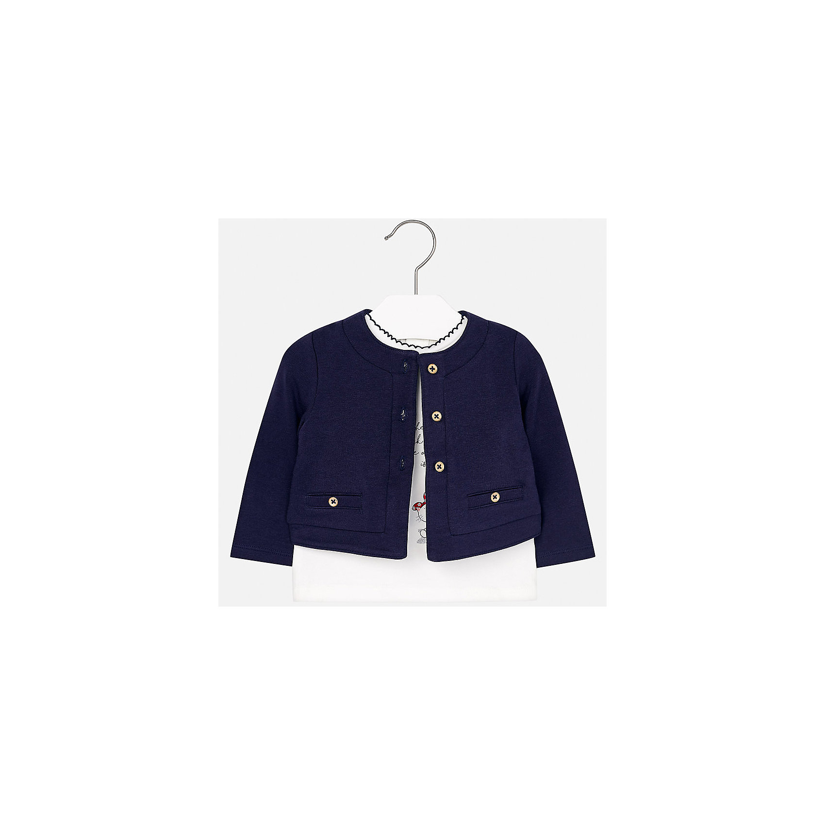 Комплект: блузка и кардиган Mayoral для девочкиКомплекты<br>Характеристики товара:<br><br>• цвет: синий<br>• состав ткани: 95% хлопок, 5% эластан<br>• комплект: блузка и кардиган<br>• сезон: демисезон<br>• особенности: принт с блестками<br>• застежка: пуговицы, кнопки<br>• длинные рукава<br>• страна бренда: Испания<br>• страна изготовитель: Индия<br><br>Детский комплект из блузки и кардигана для девочки сделан из легкого приятного на ощупь материала. Благодаря продуманному крою детской блузки создаются комфортные условия для тела. Кардиган для девочки отличается классическим дизайном.<br><br>Комплект: блузка и кардиган для девочки Mayoral (Майорал) можно купить в нашем интернет-магазине.<br><br>Ширина мм: 190<br>Глубина мм: 74<br>Высота мм: 229<br>Вес г: 236<br>Цвет: синий<br>Возраст от месяцев: 12<br>Возраст до месяцев: 15<br>Пол: Женский<br>Возраст: Детский<br>Размер: 80,98,92,86,74<br>SKU: 6920300