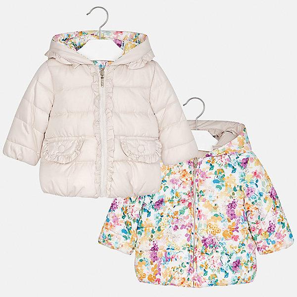 Куртка Mayoral для девочкиВерхняя одежда<br>Характеристики товара:<br><br>• цвет: бежевый<br>• состав ткани: 100% полиэстер<br>• подкладка: 100% полиэстер<br>• утеплитель: 100% полиэстер<br>• сезон: демисезон<br>• температурный режим: от -10 до +10<br>• особенности куртки: двусторонняя, дутая<br>• капюшон: без меха, несъемный<br>• застежка: молния<br>• страна бренда: Испания<br>• страна изготовитель: Индия<br><br>Такая детская двусторонняя куртка от Mayoral дополнена удобными карманами и капюшоном. Куртка для девочки сшита из приятного на ощупь материала. Детская одежда от испанской компании Mayoral, как и эта двусторонняя куртка для девочки, отличается оригинальным и всегда стильным дизайном. Качество продукции неизменно очень высокое.<br><br>Куртку для девочки Mayoral (Майорал) можно купить в нашем интернет-магазине.<br><br>Ширина мм: 356<br>Глубина мм: 10<br>Высота мм: 245<br>Вес г: 519<br>Цвет: разноцветный<br>Возраст от месяцев: 12<br>Возраст до месяцев: 15<br>Пол: Женский<br>Возраст: Детский<br>Размер: 80,98,92,86<br>SKU: 6920311