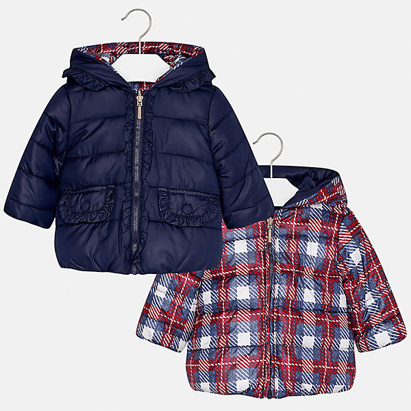 Куртка Mayoral для девочкиВерхняя одежда<br>Характеристики товара:<br><br>• цвет: синий<br>• состав ткани: 100% полиэстер<br>• подкладка: 100% полиэстер<br>• утеплитель: 100% полиэстер<br>• сезон: демисезон<br>• температурный режим: от -10 до +10<br>• особенности куртки: двусторонняя, дутая<br>• капюшон: без меха, несъемный<br>• застежка: молния<br>• страна бренда: Испания<br>• страна изготовитель: Индия<br><br>Двусторонняя куртка для девочки сшита из легкого, но теплого на ощупь материала. Эта куртка для девочки отличается стильным дизайном. Качество продукции Майорал неизменно очень высокое. Детская двусторонняя куртка от Mayoral декорирована рюшами с одной стороны.<br><br>Куртку для девочки Mayoral (Майорал) можно купить в нашем интернет-магазине.<br><br>Ширина мм: 356<br>Глубина мм: 10<br>Высота мм: 245<br>Вес г: 519<br>Цвет: синий<br>Возраст от месяцев: 12<br>Возраст до месяцев: 18<br>Пол: Женский<br>Возраст: Детский<br>Размер: 86,98,92,80<br>SKU: 6920316