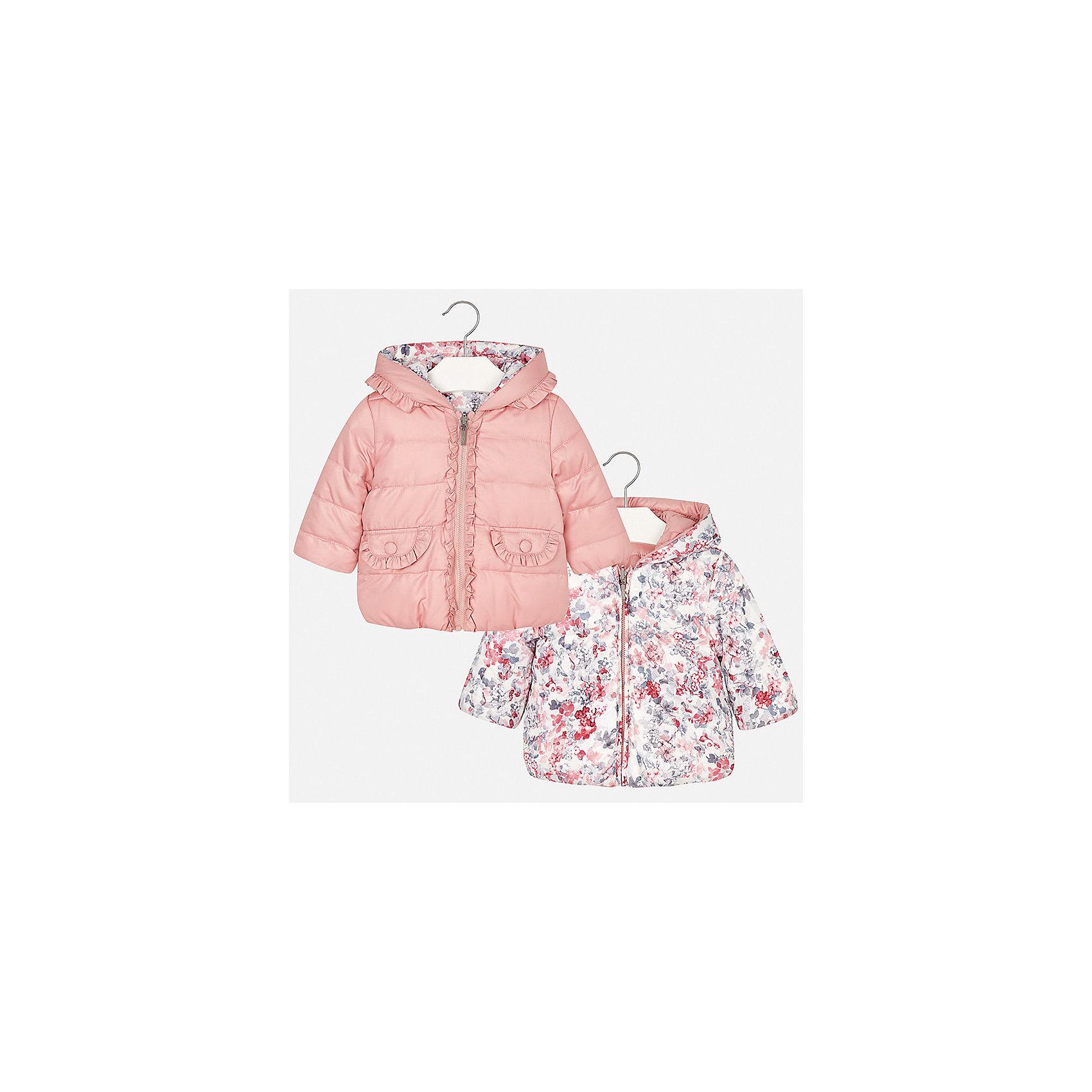 Куртка для девочки MayoralВерхняя одежда<br>Характеристики товара:<br><br>• цвет: розовый<br>• состав ткани: 100% полиэстер<br>• подкладка: 100% полиэстер<br>• утеплитель: 100% полиэстер<br>• сезон: демисезон<br>• температурный режим: от -10 до +10<br>• особенности куртки: двусторонняя, дутая<br>• капюшон: без меха, несъемный<br>• застежка: молния<br>• страна бренда: Испания<br>• страна изготовитель: Индия<br><br>Яркая детская двусторонняя куртка от Mayoral дополнена удобными карманами и капюшоном. Куртка для девочки сшита из приятного на ощупь материала. Детская одежда от испанской компании Mayoral, как и эта двусторонняя куртка для девочки, отличается оригинальным дизайном. <br><br>Куртку для девочки Mayoral (Майорал) можно купить в нашем интернет-магазине.<br><br>Ширина мм: 356<br>Глубина мм: 10<br>Высота мм: 245<br>Вес г: 519<br>Цвет: розовый<br>Возраст от месяцев: 12<br>Возраст до месяцев: 15<br>Пол: Женский<br>Возраст: Детский<br>Размер: 80,98,86,92<br>SKU: 6920321