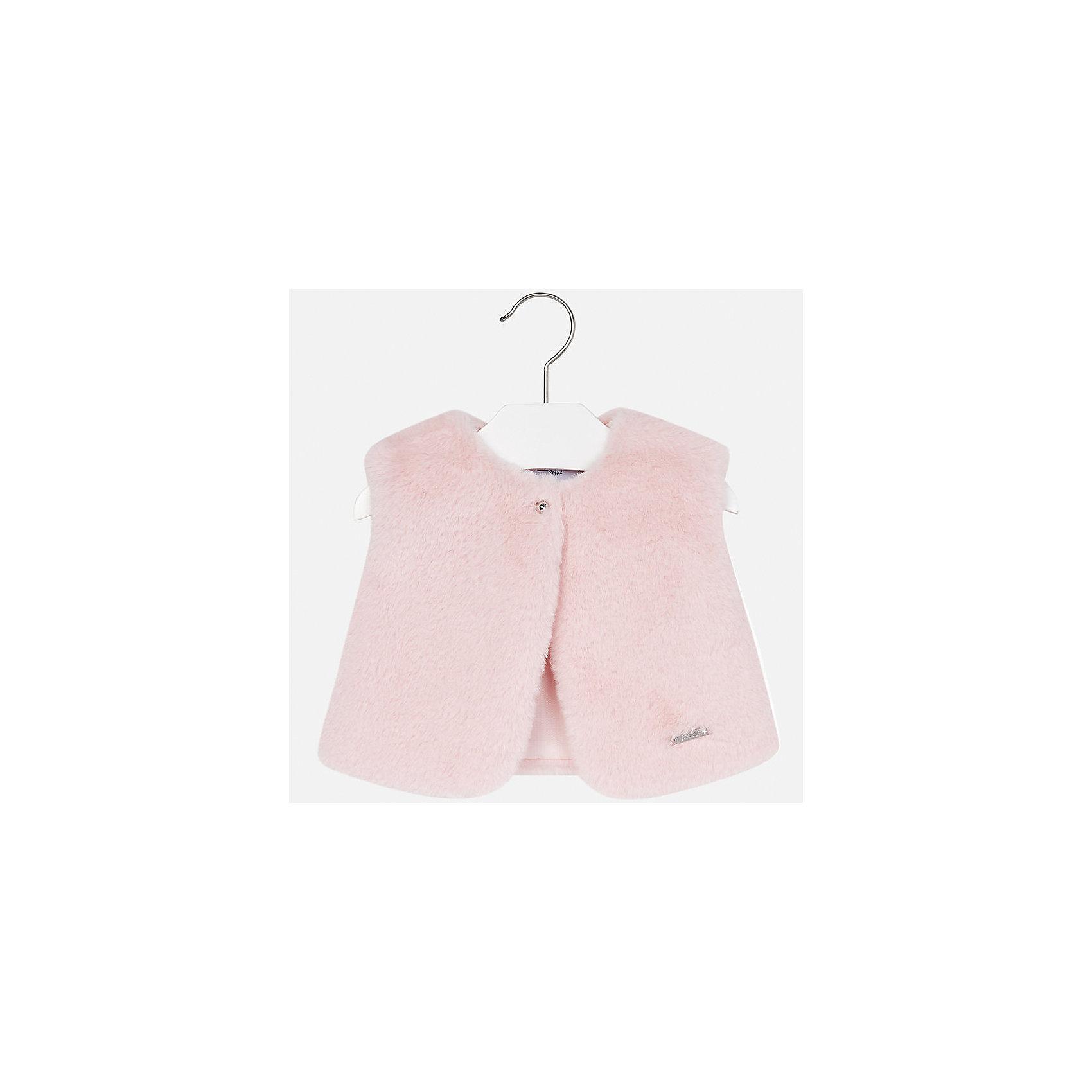 Жилет Mayoral для девочкиВерхняя одежда<br>Характеристики товара:<br><br>• цвет: розовый<br>• состав ткани: верх - полиэстер, подкладка - 50% хлопок, 50% полиэстер<br>• сезон: демисезон<br>• особенности: искусственный мех<br>• застежка: пуговица<br>• без рукавов<br>• страна бренда: Испания<br>• страна изготовитель: Индия<br><br>Теплый детский жилет сделан из приятного на ощупь материала искусственного меха. Благодаря качественной подкладке детского жилета для девочки создаются комфортные условия для тела. Меховой жилет для девочки отличается стильным продуманным дизайном.<br><br>Жилет для девочки для девочки Mayoral (Майорал) можно купить в нашем интернет-магазине.<br><br>Ширина мм: 190<br>Глубина мм: 74<br>Высота мм: 229<br>Вес г: 236<br>Цвет: розовый<br>Возраст от месяцев: 12<br>Возраст до месяцев: 15<br>Пол: Женский<br>Возраст: Детский<br>Размер: 80,98,86,92<br>SKU: 6920362