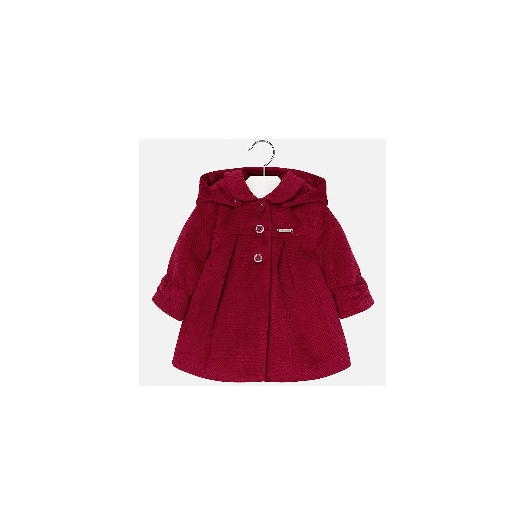 Пальто Mayoral для девочкиВерхняя одежда<br>Характеристики товара:<br><br>• цвет: красный<br>• состав ткани верха: 90% полиэстер, 10% вискоза<br>• подкладка: 100% полиэстер<br>• утеплитель: 100% полиэстер<br>• сезон: демисезон<br>• температурный режим: от -10 до +10<br>• особенности пальто: с капюшоном<br>• капюшон: без меха, съемный<br>• застежка: пуговицы<br>• страна бренда: Испания<br>• страна изготовитель: Индия<br><br>Красное пальто для девочки от Майорал подарит комфорт. Эффектная детская верхняя одежда от Mayoral отличается модным силуэтом и актуальной расцветкой. <br>Для производства этого детского пальто бренд Mayoral использует только качественную фурнитуру и материалы. <br><br>Пальто для девочки Mayoral (Майорал) можно купить в нашем интернет-магазине.<br><br>Ширина мм: 356<br>Глубина мм: 10<br>Высота мм: 245<br>Вес г: 519<br>Цвет: красный<br>Возраст от месяцев: 12<br>Возраст до месяцев: 15<br>Пол: Женский<br>Возраст: Детский<br>Размер: 80,98,86,92<br>SKU: 6920371