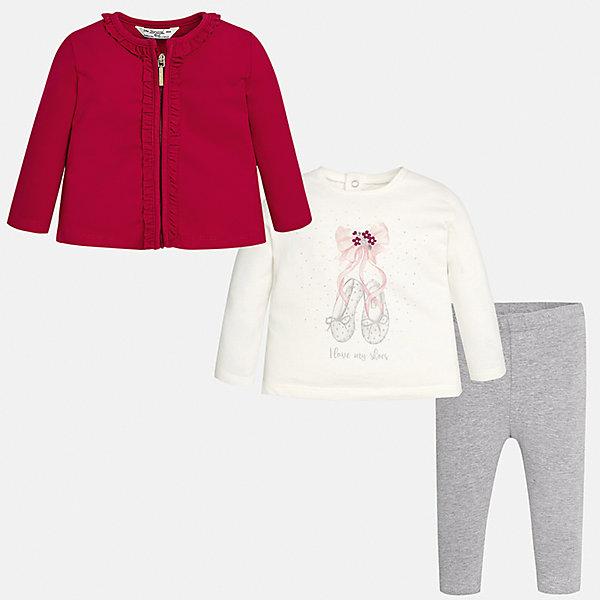 Комплект: жакет, футболка с длинным рукавом и леггинсы Mayoral для девочкиКомплекты<br>Характеристики товара:<br><br>• цвет: красный<br>• состав ткани: 92% хлопок, 8% эластан<br>• комплект: жакет, лонгслив и леггинсы<br>• сезон: демисезон<br>• особенности: принт<br>• пояс: резинка<br>• длинные рукава<br>• застежка: кнопки, молния<br>• страна бренда: Испания<br>• страна изготовитель: Индия<br><br>Этот детский комплект из жакета, лонгслива и леггинсов подойдет для любых мероприятий. Отличный способ обеспечить ребенку комфорт - надеть детские жакет, лонгслив и леггинсы от Mayoral. Детские леггинсы сшиты из приятного на ощупь материала. Жакет и лонгслив для девочки удобно сидят по фигуре. <br><br>Комплект: жакет, лонгслив и леггинсы для девочки Mayoral (Майорал) можно купить в нашем интернет-магазине.<br><br>Ширина мм: 123<br>Глубина мм: 10<br>Высота мм: 149<br>Вес г: 209<br>Цвет: красный<br>Возраст от месяцев: 6<br>Возраст до месяцев: 9<br>Пол: Женский<br>Возраст: Детский<br>Размер: 74,98,92,80,86<br>SKU: 6920398