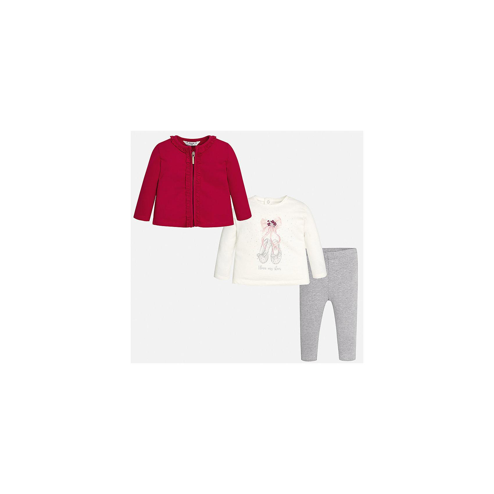 Комплект: жакет, футболка с длинным рукавом и леггинсы Mayoral для девочкиКомплекты<br>Характеристики товара:<br><br>• цвет: красный<br>• состав ткани: 92% хлопок, 8% эластан<br>• комплект: жакет, лонгслив и леггинсы<br>• сезон: демисезон<br>• особенности: принт<br>• пояс: резинка<br>• длинные рукава<br>• застежка: кнопки, молния<br>• страна бренда: Испания<br>• страна изготовитель: Индия<br><br>Этот детский комплект из жакета, лонгслива и леггинсов подойдет для любых мероприятий. Отличный способ обеспечить ребенку комфорт - надеть детские жакет, лонгслив и леггинсы от Mayoral. Детские леггинсы сшиты из приятного на ощупь материала. Жакет и лонгслив для девочки удобно сидят по фигуре. <br><br>Комплект: жакет, лонгслив и леггинсы для девочки Mayoral (Майорал) можно купить в нашем интернет-магазине.<br><br>Ширина мм: 123<br>Глубина мм: 10<br>Высота мм: 149<br>Вес г: 209<br>Цвет: красный<br>Возраст от месяцев: 24<br>Возраст до месяцев: 36<br>Пол: Женский<br>Возраст: Детский<br>Размер: 98,92,74,80,86<br>SKU: 6920398