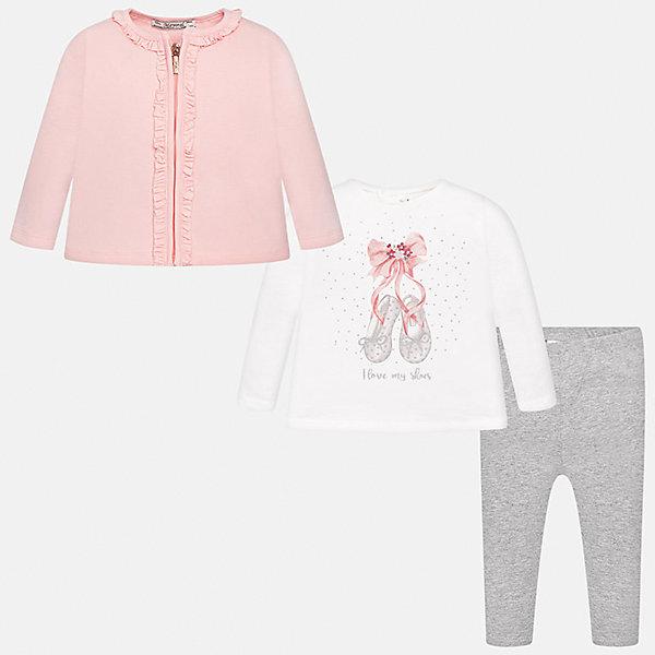 Комплект: жакет, футболка с длинным рукавом и леггинсы Mayoral для девочкиКомплекты<br>Характеристики товара:<br><br>• цвет: розовый<br>• состав ткани: 92% хлопок, 8% эластан<br>• комплект: жакет, лонгслив и леггинсы<br>• сезон: демисезон<br>• особенности: принт<br>• пояс: резинка<br>• длинные рукава<br>• застежка: кнопки, молния<br>• страна бренда: Испания<br>• страна изготовитель: Индия<br><br>Детский комплект из жакета, лонгслива и леггинсов для девочки сделан из плотного приятного на ощупь материала. Благодаря продуманному крою детского жакета и лонгслива создаются комфортные условия для тела. Леггинсы для девочки отличаются классическим дизайном.<br><br>Комплект: жакет, лонгслив и леггинсы для девочки Mayoral (Майорал) можно купить в нашем интернет-магазине.<br>Ширина мм: 123; Глубина мм: 10; Высота мм: 149; Вес г: 209; Цвет: розовый; Возраст от месяцев: 6; Возраст до месяцев: 9; Пол: Женский; Возраст: Детский; Размер: 74,98,80,86,92; SKU: 6920404;