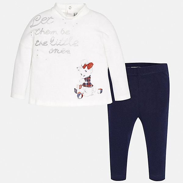 Комплект: футболка с длинным рукавом и леггинсы Mayoral для девочкиКомплекты<br>Характеристики товара:<br><br>• цвет: синий, белый<br>• состав ткани: 95% хлопок, 5% эластан<br>• комплект: лонгслив и леггинсы<br>• сезон: демисезон<br>• особенности: принт<br>• пояс: резинка<br>• длинные рукава<br>• застежка: кнопки<br>• страна бренда: Испания<br>• страна изготовитель: Индия<br><br>Лонгслив и леггинсы для девочки отлично сочетаются между собой, а также с другими вещами. Такой практичный и модный детский комплект из лонгслива и леггинсов для девочки подойдет для любых мероприятий. Детские леггинсы сшиты из приятного на ощупь материала. Лонгслив для девочки Mayoral удобно сидит по фигуре. <br><br>Комплект: лонгслив и леггинсы для девочкиMayoral (Майорал) можно купить в нашем интернет-магазине.<br><br>Ширина мм: 123<br>Глубина мм: 10<br>Высота мм: 149<br>Вес г: 209<br>Цвет: синий<br>Возраст от месяцев: 12<br>Возраст до месяцев: 15<br>Пол: Женский<br>Возраст: Детский<br>Размер: 80,74,98,92,86<br>SKU: 6920410
