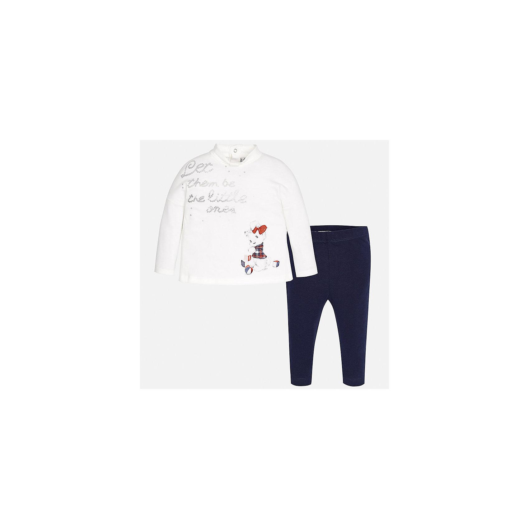 Комплект: футболка с длинным рукавом и леггинсы Mayoral для девочкиКомплекты<br>Характеристики товара:<br><br>• цвет: синий, белый<br>• состав ткани: 95% хлопок, 5% эластан<br>• комплект: лонгслив и леггинсы<br>• сезон: демисезон<br>• особенности: принт<br>• пояс: резинка<br>• длинные рукава<br>• застежка: кнопки<br>• страна бренда: Испания<br>• страна изготовитель: Индия<br><br>Лонгслив и леггинсы для девочки отлично сочетаются между собой, а также с другими вещами. Такой практичный и модный детский комплект из лонгслива и леггинсов для девочки подойдет для любых мероприятий. Детские леггинсы сшиты из приятного на ощупь материала. Лонгслив для девочки Mayoral удобно сидит по фигуре. <br><br>Комплект: лонгслив и леггинсы для девочкиMayoral (Майорал) можно купить в нашем интернет-магазине.<br><br>Ширина мм: 123<br>Глубина мм: 10<br>Высота мм: 149<br>Вес г: 209<br>Цвет: синий<br>Возраст от месяцев: 24<br>Возраст до месяцев: 36<br>Пол: Женский<br>Возраст: Детский<br>Размер: 98,74,80,86,92<br>SKU: 6920410