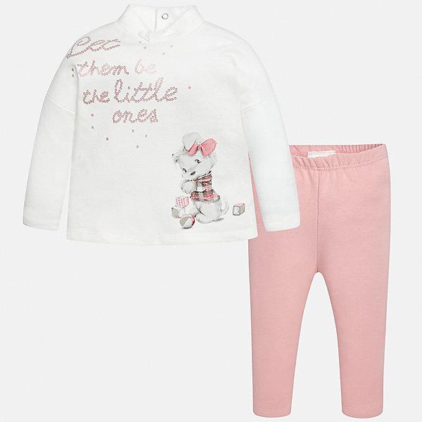 Комплект: футболка с длинным рукавом и леггинсы Mayoral для девочкиКомплекты<br>Характеристики товара:<br><br>• цвет: розовый, белый<br>• состав ткани: 95% хлопок, 5% эластан<br>• комплект: лонгслив и леггинсы<br>• сезон: демисезон<br>• особенности: принт<br>• пояс: резинка<br>• длинные рукава<br>• застежка: кнопки<br>• страна бренда: Испания<br>• страна изготовитель: Индия<br><br>Симпатичный детский комплект из лонгслива и леггинсов подойдет для любых мероприятий. Отличный способ обеспечить ребенку комфорт - надеть детские лонгслив и леггинсы от Mayoral. Детские леггинсы сшиты из приятного на ощупь материала. Лонгслив для девочки удобно сидит по фигуре. <br><br>Комплект: лонгслив и леггинсы для девочки Mayoral (Майорал) можно купить в нашем интернет-магазине.<br><br>Ширина мм: 123<br>Глубина мм: 10<br>Высота мм: 149<br>Вес г: 209<br>Цвет: розовый<br>Возраст от месяцев: 18<br>Возраст до месяцев: 24<br>Пол: Женский<br>Возраст: Детский<br>Размер: 92,98,86,80,74<br>SKU: 6920416