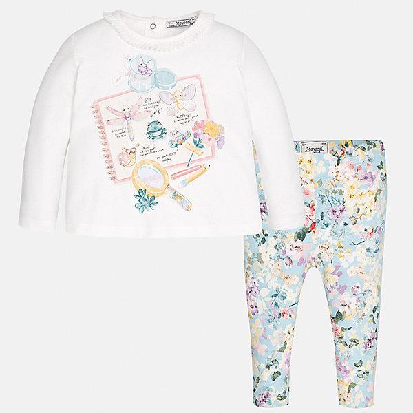 Комплект: футболка с длинным рукавом и леггинсы Mayoral для девочкиКомплекты<br>Характеристики товара:<br><br>• цвет: серый, белый<br>• состав ткани: 95% хлопок, 5% эластан<br>• комплект: лонгслив и леггинсы<br>• сезон: демисезон<br>• особенности: принт<br>• пояс: резинка<br>• длинные рукава<br>• застежка: кнопки<br>• страна бренда: Испания<br>• страна изготовитель: Индия<br><br>Детский комплект из лонгслива и леггинсов для девочки сделан из приятного на ощупь материала. Благодаря продуманному крою детского лонгслива создаются комфортные условия для тела. Леггинсы для девочки отличаются классическим дизайном.<br><br>Комплект: лонгслив и леггинсы для девочки Mayoral (Майорал) можно купить в нашем интернет-магазине.<br><br>Ширина мм: 123<br>Глубина мм: 10<br>Высота мм: 149<br>Вес г: 209<br>Цвет: голубой<br>Возраст от месяцев: 6<br>Возраст до месяцев: 9<br>Пол: Женский<br>Возраст: Детский<br>Размер: 74,98,92,86,80<br>SKU: 6920422