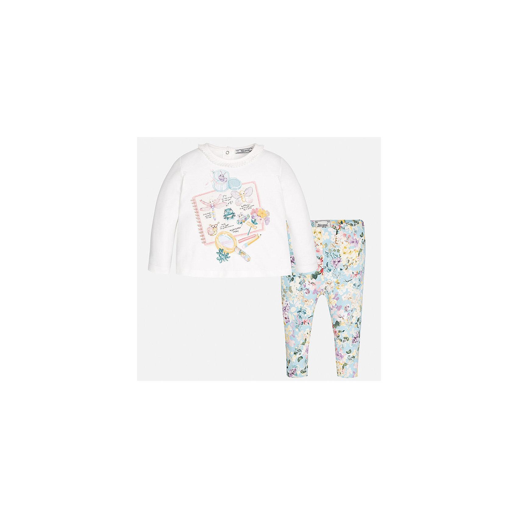 Комплект: футболка с длинным рукавом и леггинсы Mayoral для девочкиКомплекты<br>Характеристики товара:<br><br>• цвет: серый, белый<br>• состав ткани: 95% хлопок, 5% эластан<br>• комплект: лонгслив и леггинсы<br>• сезон: демисезон<br>• особенности: принт<br>• пояс: резинка<br>• длинные рукава<br>• застежка: кнопки<br>• страна бренда: Испания<br>• страна изготовитель: Индия<br><br>Детский комплект из лонгслива и леггинсов для девочки сделан из приятного на ощупь материала. Благодаря продуманному крою детского лонгслива создаются комфортные условия для тела. Леггинсы для девочки отличаются классическим дизайном.<br><br>Комплект: лонгслив и леггинсы для девочки Mayoral (Майорал) можно купить в нашем интернет-магазине.<br><br>Ширина мм: 123<br>Глубина мм: 10<br>Высота мм: 149<br>Вес г: 209<br>Цвет: серый<br>Возраст от месяцев: 24<br>Возраст до месяцев: 36<br>Пол: Женский<br>Возраст: Детский<br>Размер: 98,74,80,86,92<br>SKU: 6920422