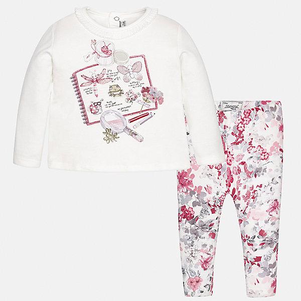 Комплект: футболка с длинным рукавом и леггинсы Mayoral для девочкиБлузки и рубашки<br>Характеристики товара:<br><br>• цвет: розовый<br>• состав ткани: 95% хлопок, 5% эластан<br>• комплект: лонгслив и леггинсы<br>• сезон: демисезон<br>• особенности: принт<br>• пояс: резинка<br>• длинные рукава<br>• застежка: кнопки<br>• страна бренда: Испания<br>• страна изготовитель: Индия<br><br>Такие лонгслив и леггинсы для девочки отлично сочетаются между собой, а также с другими вещами. Такой практичный и модный детский комплект из лонгслива и леггинсов для девочки подойдет для любых мероприятий. Детские леггинсы сшиты из приятного на ощупь материала. Лонгслив для девочки Mayoral удобно сидит по фигуре. <br><br>Комплект: лонгслив и леггинсы для девочкиMayoral (Майорал) можно купить в нашем интернет-магазине.<br>Ширина мм: 123; Глубина мм: 10; Высота мм: 149; Вес г: 209; Цвет: красный; Возраст от месяцев: 6; Возраст до месяцев: 9; Пол: Женский; Возраст: Детский; Размер: 74,98,92,86,80; SKU: 6920428;