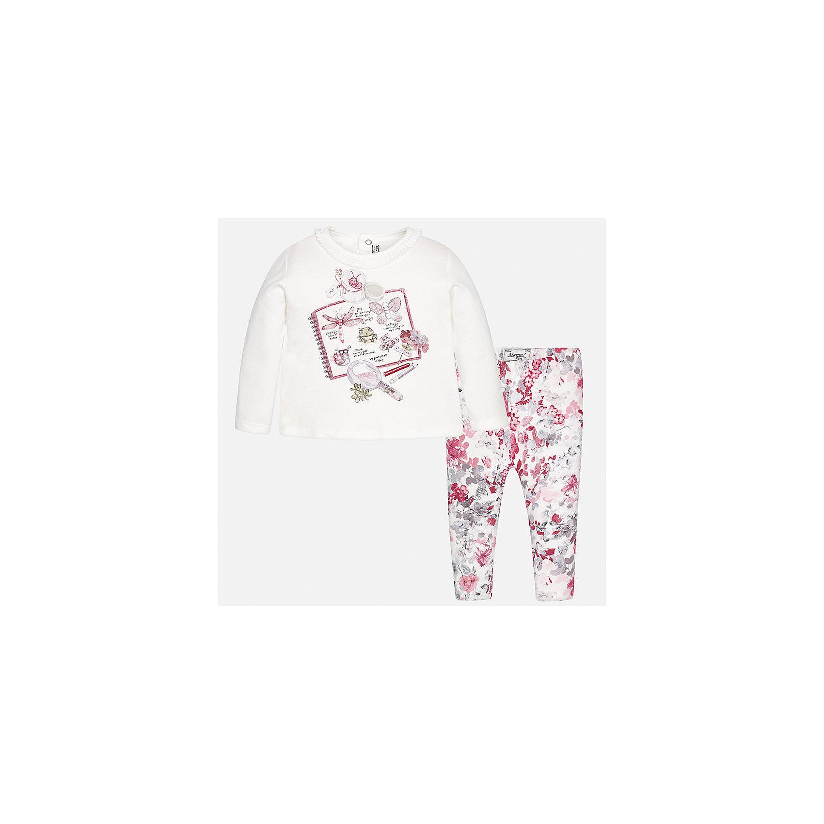 Комплект: футболка с длинным рукавом и леггинсы Mayoral для девочкиБлузки и рубашки<br>Характеристики товара:<br><br>• цвет: розовый<br>• состав ткани: 95% хлопок, 5% эластан<br>• комплект: лонгслив и леггинсы<br>• сезон: демисезон<br>• особенности: принт<br>• пояс: резинка<br>• длинные рукава<br>• застежка: кнопки<br>• страна бренда: Испания<br>• страна изготовитель: Индия<br><br>Такие лонгслив и леггинсы для девочки отлично сочетаются между собой, а также с другими вещами. Такой практичный и модный детский комплект из лонгслива и леггинсов для девочки подойдет для любых мероприятий. Детские леггинсы сшиты из приятного на ощупь материала. Лонгслив для девочки Mayoral удобно сидит по фигуре. <br><br>Комплект: лонгслив и леггинсы для девочкиMayoral (Майорал) можно купить в нашем интернет-магазине.<br><br>Ширина мм: 123<br>Глубина мм: 10<br>Высота мм: 149<br>Вес г: 209<br>Цвет: красный<br>Возраст от месяцев: 24<br>Возраст до месяцев: 36<br>Пол: Женский<br>Возраст: Детский<br>Размер: 98,74,80,86,92<br>SKU: 6920428