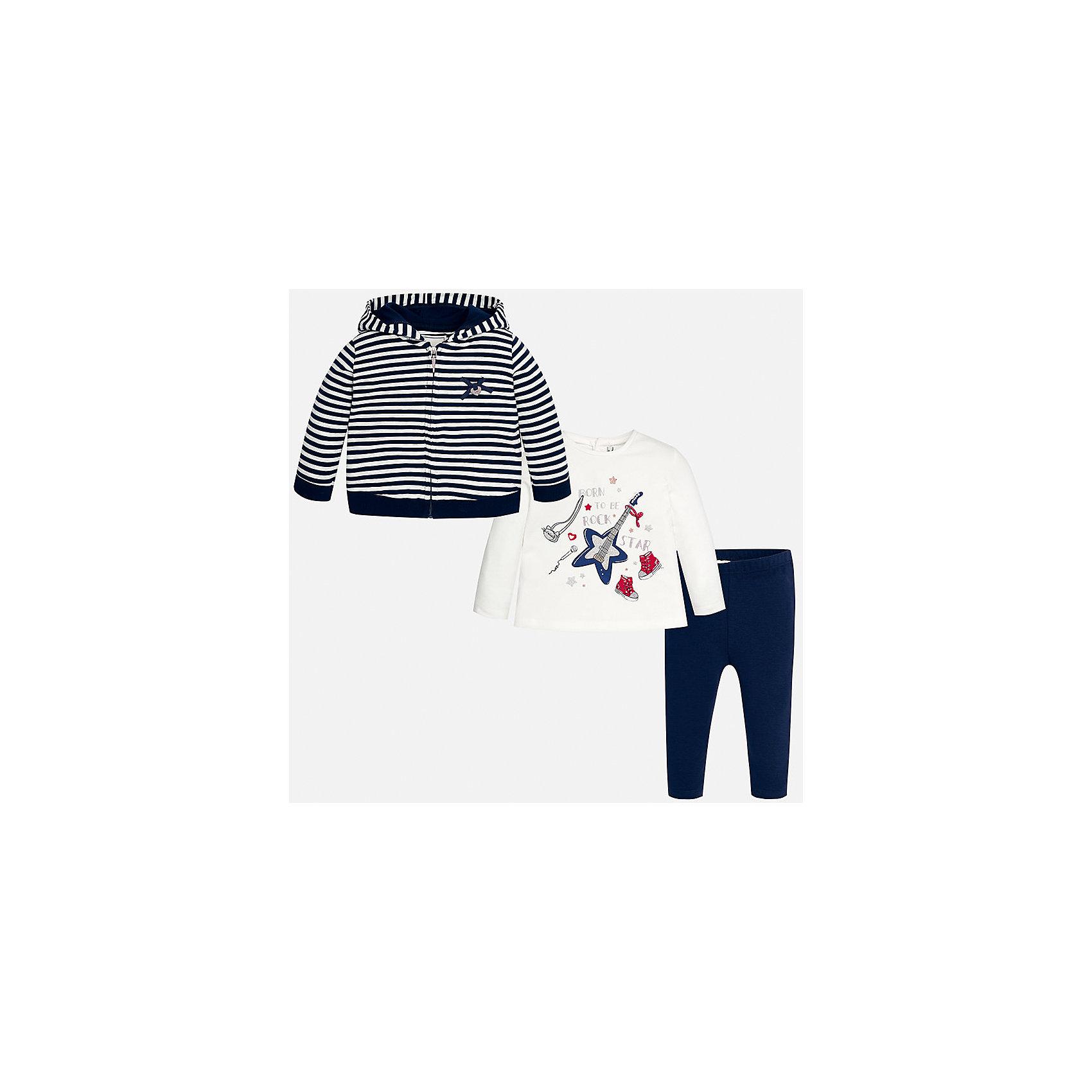 Комплект: жакет, футболка с длинным рукавом и леггинсы Mayoral для девочкиКомплекты<br>Характеристики товара:<br><br>• цвет: синий<br>• состав ткани: жакет - 85% хлопок, 15% полиэстер, лонгслив и леггинсы - 92% хлопок, 8% эластан<br>• комплект: жакет, лонгслив и леггинсы<br>• сезон: демисезон<br>• особенности: принт<br>• пояс: резинка<br>• длинные рукава<br>• застежка: кнопки, молния<br>• страна бренда: Испания<br>• страна изготовитель: Индия<br><br>Такой детский комплект из толстовки, лонгслива и леггинсов для девочки сделан из плотного приятного на ощупь материала. Благодаря продуманному крою создаются комфортные условия для тела ребенка. Леггинсы для девочки отличаются классическим дизайном.<br><br>Комплект: жакет, лонгслив и леггинсы для девочки Mayoral (Майорал) можно купить в нашем интернет-магазине.<br><br>Ширина мм: 123<br>Глубина мм: 10<br>Высота мм: 149<br>Вес г: 209<br>Цвет: синий<br>Возраст от месяцев: 12<br>Возраст до месяцев: 15<br>Пол: Женский<br>Возраст: Детский<br>Размер: 80,86,92,98,74<br>SKU: 6920434