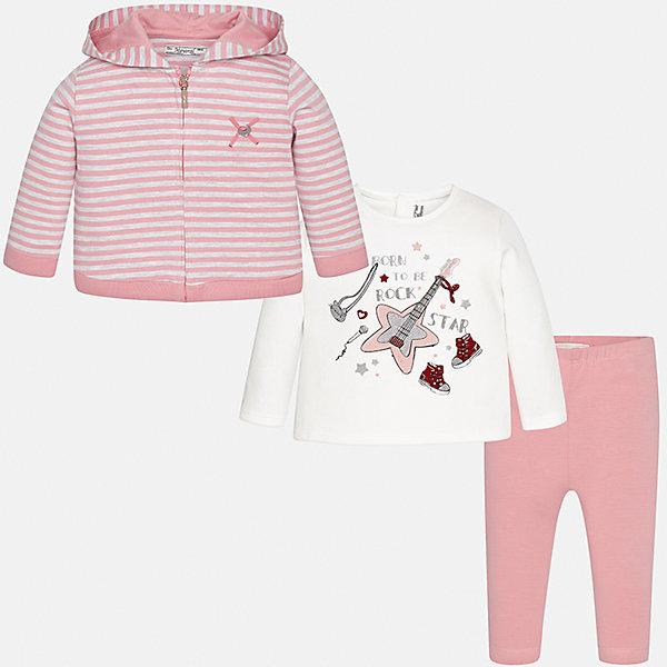Комплект: жакет, футболка с длинным рукавом и леггинсы Mayoral для девочкиКомплекты<br>Характеристики товара:<br><br>• цвет: розовый<br>• состав ткани: жакет - 85% хлопок, 15% полиэстер, лонгслив и леггинсы - 92% хлопок, 8% эластан<br>• комплект: жакет, лонгслив и леггинсы<br>• сезон: демисезон<br>• особенности: принт<br>• пояс: резинка<br>• длинные рукава<br>• застежка: кнопки, молния<br>• страна бренда: Испания<br>• страна изготовитель: Индия<br><br>Симпатичный детский комплект из толстовки, лонгслива и леггинсов подойдет для любых мероприятий. Отличный способ обеспечить ребенку комфорт - надеть детские жакет, лонгслив и леггинсы от Mayoral. Детские леггинсы сшиты из приятного на ощупь материала. Толстовка и лонгслив для девочки легко и быстро надеваются. <br><br>Комплект: жакет, лонгслив и леггинсы для девочки Mayoral (Майорал) можно купить в нашем интернет-магазине.<br>Ширина мм: 123; Глубина мм: 10; Высота мм: 149; Вес г: 209; Цвет: розовый; Возраст от месяцев: 6; Возраст до месяцев: 9; Пол: Женский; Возраст: Детский; Размер: 74,98,92,86,80; SKU: 6920440;