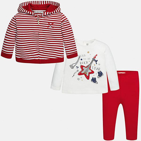 Комплект: жакет, футболка с длинным рукавом и леггинсы Mayoral для девочкиКомплекты<br>Характеристики товара:<br><br>• цвет: красный<br>• состав ткани: жакет - 85% хлопок, 15% полиэстер, лонгслив и леггинсы - 92% хлопок, 8% эластан<br>• комплект: жакет, лонгслив и леггинсы<br>• сезон: демисезон<br>• особенности: принт<br>• пояс: резинка<br>• длинные рукава<br>• застежка: кнопки, молния<br>• страна бренда: Испания<br>• страна изготовитель: Индия<br><br>Благодаря продуманному крою одежда Майорал создает комфортные условия во время прогулки. Леггинсы для девочки отличаются классическим дизайном. Такой детский комплект из толстовки, лонгслива и леггинсов для девочки сделан из плотного приятного на ощупь материала. <br><br>Комплект: жакет, лонгслив и леггинсы для девочки Mayoral (Майорал) можно купить в нашем интернет-магазине.<br><br>Ширина мм: 123<br>Глубина мм: 10<br>Высота мм: 149<br>Вес г: 209<br>Цвет: красный<br>Возраст от месяцев: 6<br>Возраст до месяцев: 9<br>Пол: Женский<br>Возраст: Детский<br>Размер: 98,74,92,86,80<br>SKU: 6920446