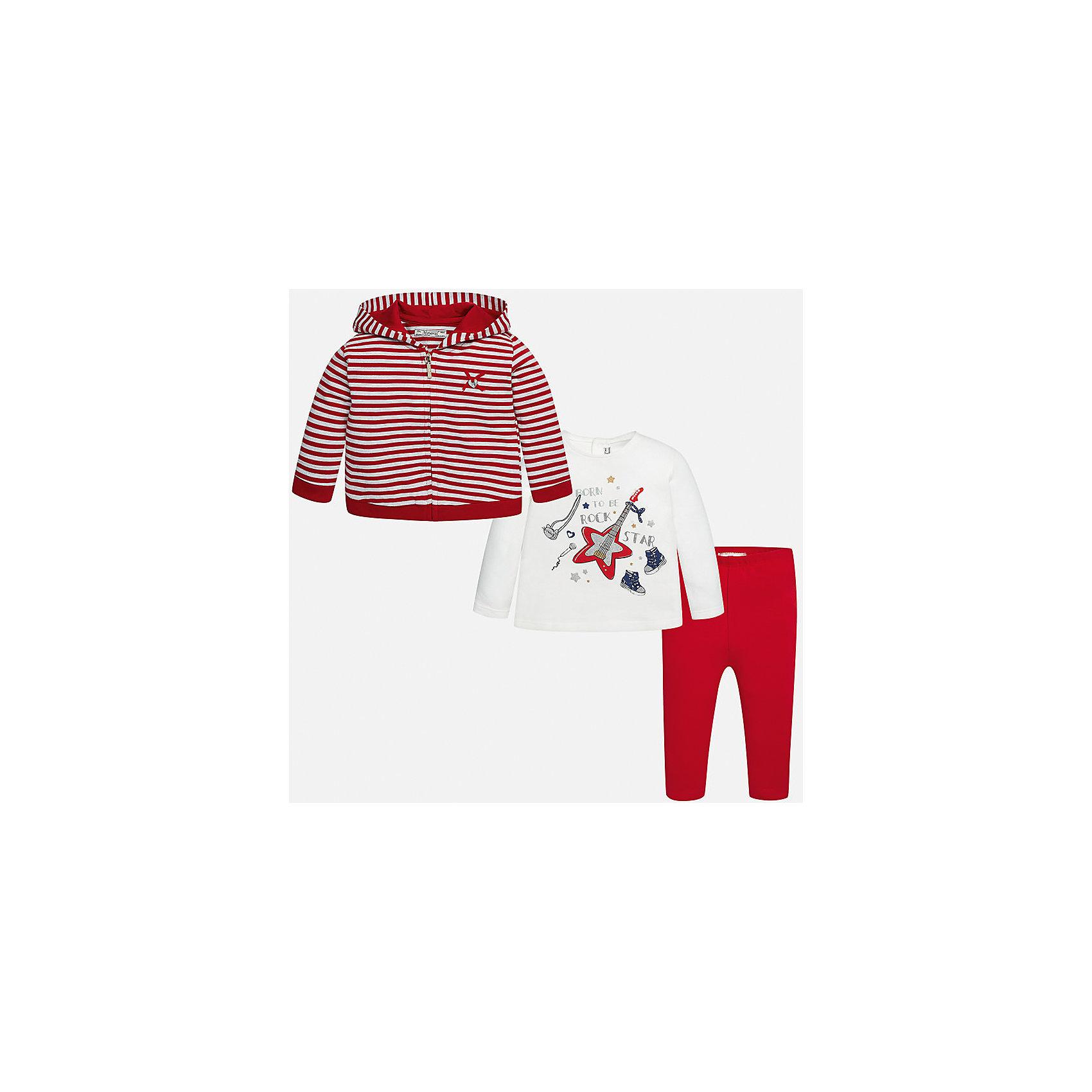 Комплект: жакет, футболка с длинным рукавом и леггинсы Mayoral для девочкиКомплекты<br>Характеристики товара:<br><br>• цвет: красный<br>• состав ткани: жакет - 85% хлопок, 15% полиэстер, лонгслив и леггинсы - 92% хлопок, 8% эластан<br>• комплект: жакет, лонгслив и леггинсы<br>• сезон: демисезон<br>• особенности: принт<br>• пояс: резинка<br>• длинные рукава<br>• застежка: кнопки, молния<br>• страна бренда: Испания<br>• страна изготовитель: Индия<br><br>Благодаря продуманному крою одежда Майорал создает комфортные условия во время прогулки. Леггинсы для девочки отличаются классическим дизайном. Такой детский комплект из толстовки, лонгслива и леггинсов для девочки сделан из плотного приятного на ощупь материала. <br><br>Комплект: жакет, лонгслив и леггинсы для девочки Mayoral (Майорал) можно купить в нашем интернет-магазине.<br><br>Ширина мм: 123<br>Глубина мм: 10<br>Высота мм: 149<br>Вес г: 209<br>Цвет: красный<br>Возраст от месяцев: 6<br>Возраст до месяцев: 9<br>Пол: Женский<br>Возраст: Детский<br>Размер: 74,98,92,86,80<br>SKU: 6920446