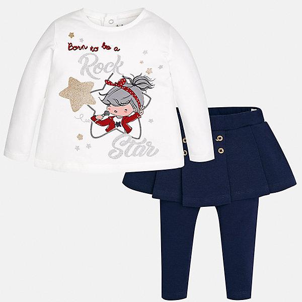 Купить Комплект: блузка и леггинсы Mayoral для девочки, Индия, синий, 74, 98, 92, 86, 80, Женский