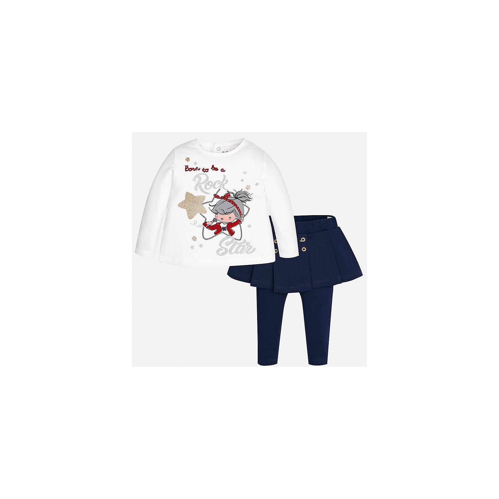 Комплект: блузка и леггинсы Mayoral для девочкиКомплекты<br>Характеристики товара:<br><br>• цвет: синий<br>• состав ткани: 92% хлопок, 8% эластан<br>• комплект: лонгслив и леггинсы<br>• сезон: демисезон<br>• особенности: принт с блестками<br>• пояс: резинка<br>• длинные рукава<br>• застежка: кнопки<br>• страна бренда: Испания<br>• страна изготовитель: Индия<br><br>Симпатичный детский комплект из лонгслива и леггинсов подойдет для любых мероприятий. Отличный способ обеспечить ребенку комфорт - надеть детские лонгслив и леггинсы от Mayoral. Детские леггинсы с юбкой сшиты из приятного на ощупь материала. Лонгслив для девочки удобно сидит по фигуре. <br><br>Комплект: лонгслив и леггинсы для девочки Mayoral (Майорал) можно купить в нашем интернет-магазине.<br><br>Ширина мм: 123<br>Глубина мм: 10<br>Высота мм: 149<br>Вес г: 209<br>Цвет: синий<br>Возраст от месяцев: 24<br>Возраст до месяцев: 36<br>Пол: Женский<br>Возраст: Детский<br>Размер: 98,74,80,86,92<br>SKU: 6920553