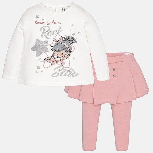 Комплект: блузка и леггинсы Mayoral для девочкиКомплекты<br>Характеристики товара:<br><br>• цвет: розовый<br>• состав ткани: 92% хлопок, 8% эластан<br>• комплект: лонгслив и леггинсы<br>• сезон: демисезон<br>• особенности: принт с блестками<br>• пояс: резинка<br>• длинные рукава<br>• застежка: кнопки<br>• страна бренда: Испания<br>• страна изготовитель: Индия<br><br>Удобный детский комплект из лонгслива и леггинсов подойдет для любых мероприятий. Отличный способ обеспечить ребенку комфорт - надеть детские лонгслив и леггинсы от Mayoral. Детские леггинсы с юбкой сшиты из приятного на ощупь материала. Лонгслив для девочки удобно сидит по фигуре. <br><br>Комплект: лонгслив и леггинсы для девочки Mayoral (Майорал) можно купить в нашем интернет-магазине.<br><br>Ширина мм: 123<br>Глубина мм: 10<br>Высота мм: 149<br>Вес г: 209<br>Цвет: розовый<br>Возраст от месяцев: 6<br>Возраст до месяцев: 9<br>Пол: Женский<br>Возраст: Детский<br>Размер: 74,98,92,86,80<br>SKU: 6920571