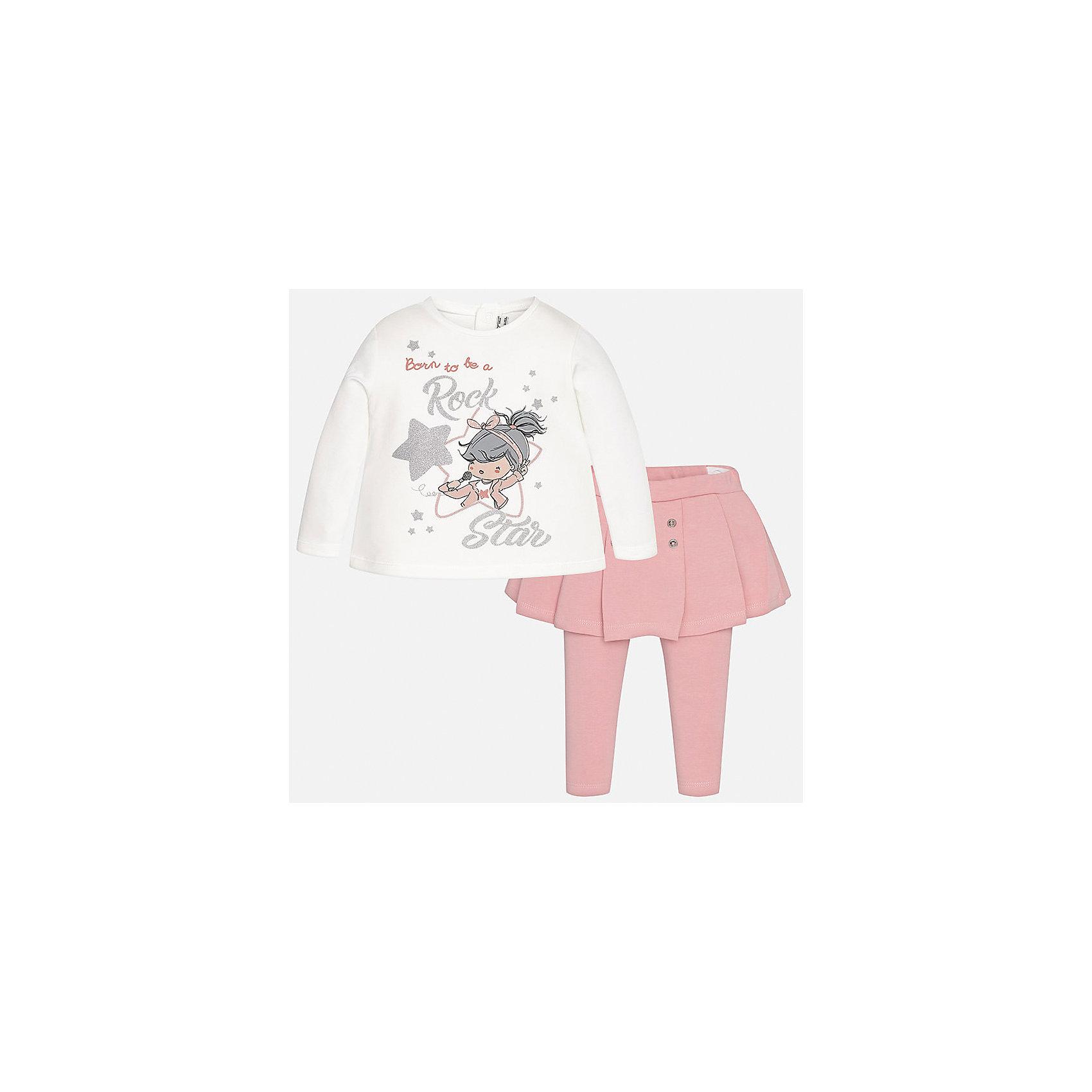 Комплект: блузка и леггинсы Mayoral для девочкиКомплекты<br>Характеристики товара:<br><br>• цвет: розовый<br>• состав ткани: 92% хлопок, 8% эластан<br>• комплект: лонгслив и леггинсы<br>• сезон: демисезон<br>• особенности: принт с блестками<br>• пояс: резинка<br>• длинные рукава<br>• застежка: кнопки<br>• страна бренда: Испания<br>• страна изготовитель: Индия<br><br>Удобный детский комплект из лонгслива и леггинсов подойдет для любых мероприятий. Отличный способ обеспечить ребенку комфорт - надеть детские лонгслив и леггинсы от Mayoral. Детские леггинсы с юбкой сшиты из приятного на ощупь материала. Лонгслив для девочки удобно сидит по фигуре. <br><br>Комплект: лонгслив и леггинсы для девочки Mayoral (Майорал) можно купить в нашем интернет-магазине.<br><br>Ширина мм: 123<br>Глубина мм: 10<br>Высота мм: 149<br>Вес г: 209<br>Цвет: розовый<br>Возраст от месяцев: 18<br>Возраст до месяцев: 24<br>Пол: Женский<br>Возраст: Детский<br>Размер: 92,98,74,80,86<br>SKU: 6920571