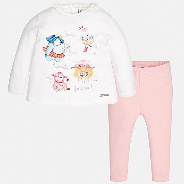 Комплект: футболка с длинным рукавом и леггинсы Mayoral для девочкиКомплекты<br>Характеристики товара:<br><br>• цвет: белый<br>• состав ткани: 92% хлопок, 8% эластан<br>• комплект: лонгслив и леггинсы<br>• сезон: демисезон<br>• особенности: принт с блестками<br>• пояс: резинка<br>• длинные рукава<br>• застежка: кнопки<br>• страна бренда: Испания<br>• страна изготовитель: Индия<br><br>Симпатичный детский комплект из лонгслива и леггинсов для девочки сделан из приятного на ощупь материала. Благодаря продуманному крою детского лонгслива создаются комфортные условия для тела. Леггинсы для девочки - однотонные.<br><br>Комплект: лонгслив и леггинсы для девочки Mayoral (Майорал) можно купить в нашем интернет-магазине.<br><br>Ширина мм: 123<br>Глубина мм: 10<br>Высота мм: 149<br>Вес г: 209<br>Цвет: светло-розовый<br>Возраст от месяцев: 24<br>Возраст до месяцев: 36<br>Пол: Женский<br>Возраст: Детский<br>Размер: 98,74,80,86,92<br>SKU: 6920577