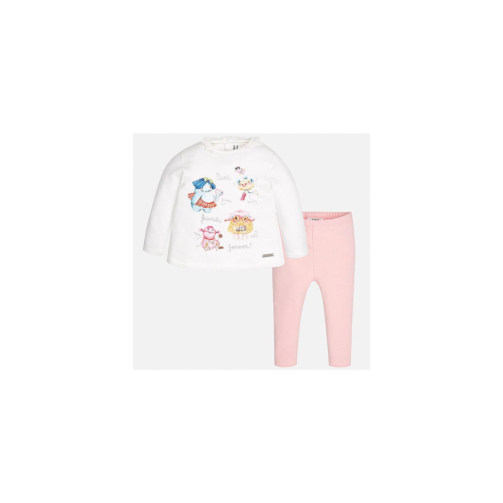 Комплект: футболка с длинным рукавом и леггинсы Mayoral для девочкиКомплекты<br>Характеристики товара:<br><br>• цвет: белый<br>• состав ткани: 92% хлопок, 8% эластан<br>• комплект: лонгслив и леггинсы<br>• сезон: демисезон<br>• особенности: принт с блестками<br>• пояс: резинка<br>• длинные рукава<br>• застежка: кнопки<br>• страна бренда: Испания<br>• страна изготовитель: Индия<br><br>Симпатичный детский комплект из лонгслива и леггинсов для девочки сделан из приятного на ощупь материала. Благодаря продуманному крою детского лонгслива создаются комфортные условия для тела. Леггинсы для девочки - однотонные.<br><br>Комплект: лонгслив и леггинсы для девочки Mayoral (Майорал) можно купить в нашем интернет-магазине.<br><br>Ширина мм: 123<br>Глубина мм: 10<br>Высота мм: 149<br>Вес г: 209<br>Цвет: светло-розовый<br>Возраст от месяцев: 6<br>Возраст до месяцев: 9<br>Пол: Женский<br>Возраст: Детский<br>Размер: 74,98,92,86,80<br>SKU: 6920577