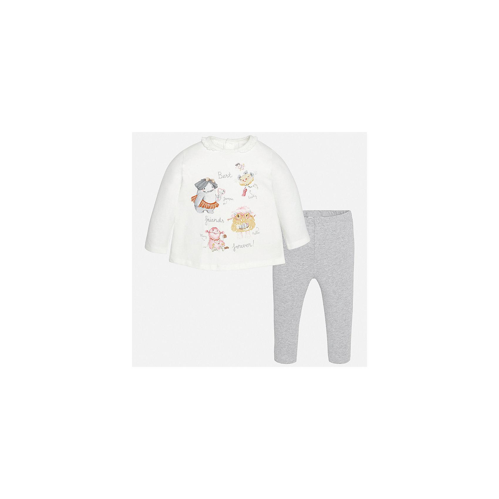 Комплект: футболка с длинным рукавом и леггинсы для девочки MayoralКомплекты<br>Характеристики товара:<br><br>• цвет: серый<br>• состав ткани: 92% хлопок, 8% эластан<br>• комплект: лонгслив и леггинсы<br>• сезон: демисезон<br>• особенности: принт с блестками<br>• пояс: резинка<br>• длинные рукава<br>• застежка: кнопки<br>• страна бренда: Испания<br>• страна изготовитель: Индия<br><br>Хлопковые лонгслив и леггинсы для девочки отлично сочетаются между собой, а также с другими вещами. Такой практичный и модный детский комплект из лонгслива и леггинсов для девочки подойдет для любых мероприятий. Детские леггинсы с юбкой сшиты из приятного на ощупь материала. Лонгслив для девочки Mayoral удобно сидит по фигуре. <br><br>Комплект: лонгслив и леггинсы для девочкиMayoral (Майорал) можно купить в нашем интернет-магазине.<br><br>Ширина мм: 123<br>Глубина мм: 10<br>Высота мм: 149<br>Вес г: 209<br>Цвет: серебряный<br>Возраст от месяцев: 24<br>Возраст до месяцев: 36<br>Пол: Женский<br>Возраст: Детский<br>Размер: 98,74,80,86,92<br>SKU: 6920583