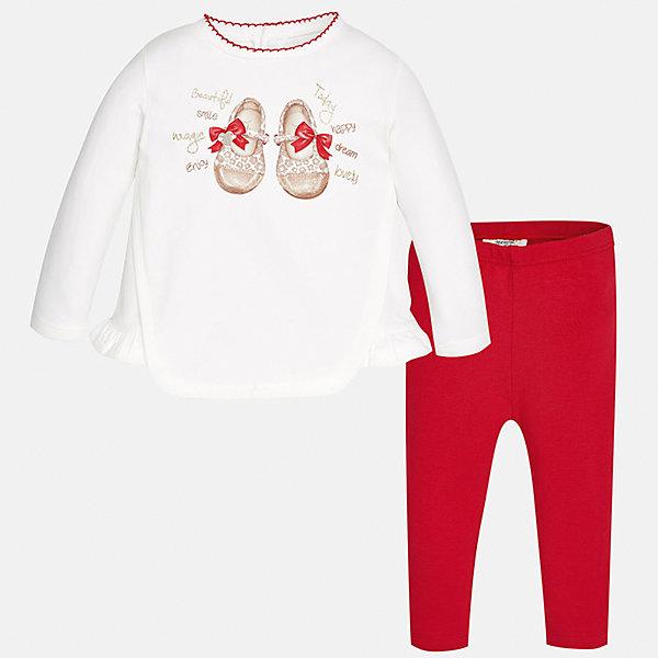Купить Комплект: футболка с длинным рукавом и леггинсы Mayoral для девочки, Индия, красный, 74, 98, 92, 86, 80, Женский