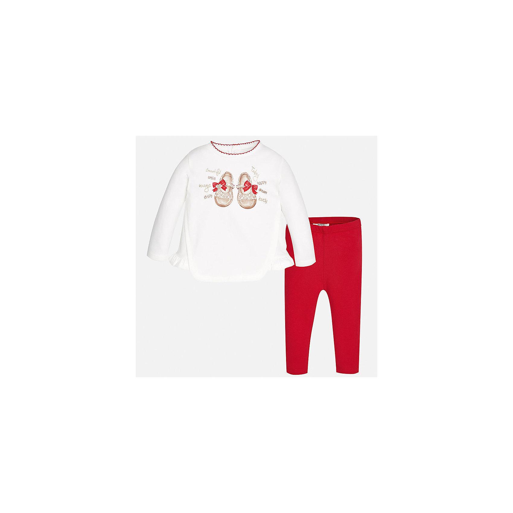 Комплект: футболка с длинным рукавом и леггинсы Mayoral для девочкиКомплекты<br>Характеристики товара:<br><br>• цвет: красный<br>• состав ткани: 92% хлопок, 8% эластан<br>• комплект: лонгслив и леггинсы<br>• сезон: демисезон<br>• особенности: принт с блестками<br>• пояс: резинка<br>• длинные рукава<br>• застежка: кнопки<br>• страна бренда: Испания<br>• страна изготовитель: Индия<br><br>Комфортный детский комплект из лонгслива и леггинсов подойдет для любых мероприятий. Отличный способ обеспечить ребенку комфорт - надеть детские лонгслив и леггинсы от Mayoral. Детские леггинсы однотонные, сшиты из приятного на ощупь материала. Лонгслив для девочки удобно сидит по фигуре. <br><br>Комплект: лонгслив и леггинсы для девочки Mayoral (Майорал) можно купить в нашем интернет-магазине.<br><br>Ширина мм: 123<br>Глубина мм: 10<br>Высота мм: 149<br>Вес г: 209<br>Цвет: красный<br>Возраст от месяцев: 18<br>Возраст до месяцев: 24<br>Пол: Женский<br>Возраст: Детский<br>Размер: 92,98,74,80,86<br>SKU: 6920589