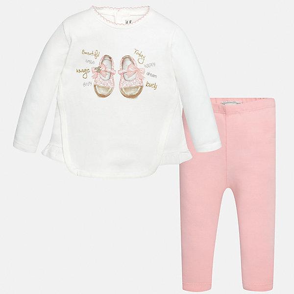 Комплект: футболка с длинным рукавом и леггинсы Mayoral для девочкиКомплекты<br>Характеристики товара:<br><br>• цвет: белый<br>• состав ткани: 92% хлопок, 8% эластан<br>• комплект: лонгслив и леггинсы<br>• сезон: демисезон<br>• особенности: принт с блестками<br>• пояс: резинка<br>• длинные рукава<br>• застежка: кнопки<br>• страна бренда: Испания<br>• страна изготовитель: Индия<br><br>Оригинальный детский комплект из лонгслива и леггинсов для девочки сделан из приятного на ощупь материала. Благодаря продуманному крою детского лонгслива создаются комфортные условия для тела. Леггинсы для девочки - однотонные.<br><br>Комплект: лонгслив и леггинсы для девочки Mayoral (Майорал) можно купить в нашем интернет-магазине.<br><br>Ширина мм: 123<br>Глубина мм: 10<br>Высота мм: 149<br>Вес г: 209<br>Цвет: светло-розовый<br>Возраст от месяцев: 6<br>Возраст до месяцев: 9<br>Пол: Женский<br>Возраст: Детский<br>Размер: 74,98,92,86,80<br>SKU: 6920595