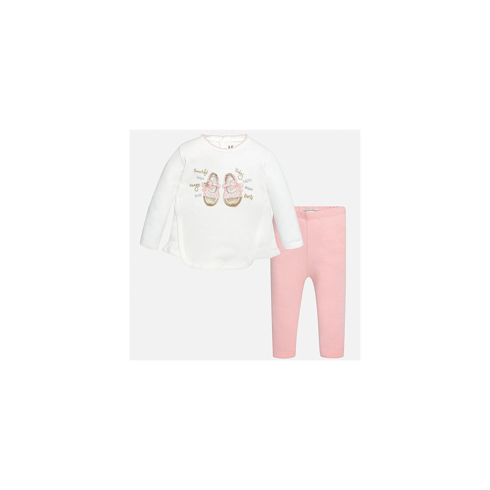 Комплект: футболка с длинным рукавом и леггинсы Mayoral для девочкиКомплекты<br>Характеристики товара:<br><br>• цвет: белый<br>• состав ткани: 92% хлопок, 8% эластан<br>• комплект: лонгслив и леггинсы<br>• сезон: демисезон<br>• особенности: принт с блестками<br>• пояс: резинка<br>• длинные рукава<br>• застежка: кнопки<br>• страна бренда: Испания<br>• страна изготовитель: Индия<br><br>Оригинальный детский комплект из лонгслива и леггинсов для девочки сделан из приятного на ощупь материала. Благодаря продуманному крою детского лонгслива создаются комфортные условия для тела. Леггинсы для девочки - однотонные.<br><br>Комплект: лонгслив и леггинсы для девочки Mayoral (Майорал) можно купить в нашем интернет-магазине.<br><br>Ширина мм: 123<br>Глубина мм: 10<br>Высота мм: 149<br>Вес г: 209<br>Цвет: светло-розовый<br>Возраст от месяцев: 24<br>Возраст до месяцев: 36<br>Пол: Женский<br>Возраст: Детский<br>Размер: 98,74,80,86,92<br>SKU: 6920595
