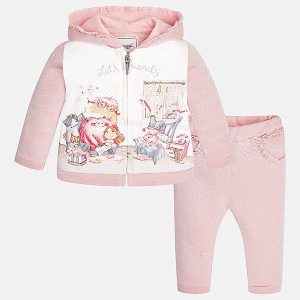 Спортивный костюм для девочки MayoralКомплекты<br>Характеристики товара:<br><br>• цвет: розовый<br>• состав ткани курточки: 65% хлопок, 25% полиэстер, 8% металлизированная нить, 2% эластан<br>• состав ткани брюк: 53% хлопок, 35% полиэстер, 12% металлизированная нить<br>• комплект: курточка и брюки<br>• сезон: демисезон<br>• особенности: спортивный стиль<br>• длинные рукава<br>• застежка: молния<br>• пояс: резинка<br>• страна бренда: Испания<br>• страна изготовитель: Индия<br><br>В детском спортивном костюме от испанской компании Майорал ребенок будет выглядеть модно, а чувствовать себя - комфортно. Спортивный костюм для ребенка сделан материала с преобладанием натурального хлопка в составе. Серый комплект для занятий спортом хорошо сидит по фигуре.<br><br>Спортивный костюм для девочки Mayoral (Майорал) можно купить в нашем интернет-магазине.<br>Ширина мм: 247; Глубина мм: 16; Высота мм: 140; Вес г: 225; Цвет: розовый; Возраст от месяцев: 18; Возраст до месяцев: 24; Пол: Женский; Возраст: Детский; Размер: 92,74,98,86,80; SKU: 6920613;