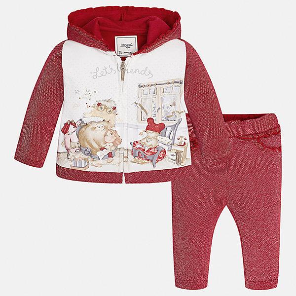 Спортивный костюм для девочки MayoralКомплекты<br>Характеристики товара:<br><br>• цвет: красный<br>• состав ткани курточки: 65% хлопок, 25% полиэстер, 8% металлизированная нить, 2% эластан<br>• состав ткани брюк: 53% хлопок, 35% полиэстер, 12% металлизированная нить<br>• комплект: курточка и брюки<br>• сезон: демисезон<br>• особенности: спортивный стиль<br>• длинные рукава<br>• застежка: молния<br>• пояс: резинка<br>• страна бренда: Испания<br>• страна изготовитель: Индия<br><br>Целая команда талантливых европейских дизайнеров работала над созданием этого детского спортивного костюма. Спортивный костюм для ребенка сшит из качественного материала с преобладанием натурального хлопка в составе. Модный комплект для занятий спортом состоит из курточки с капюшоном и брюк.<br><br>Спортивный костюм для девочки Mayoral (Майорал) можно купить в нашем интернет-магазине.<br>Ширина мм: 247; Глубина мм: 16; Высота мм: 140; Вес г: 225; Цвет: красный; Возраст от месяцев: 6; Возраст до месяцев: 9; Пол: Женский; Возраст: Детский; Размер: 74,98,92,86,80; SKU: 6920619;