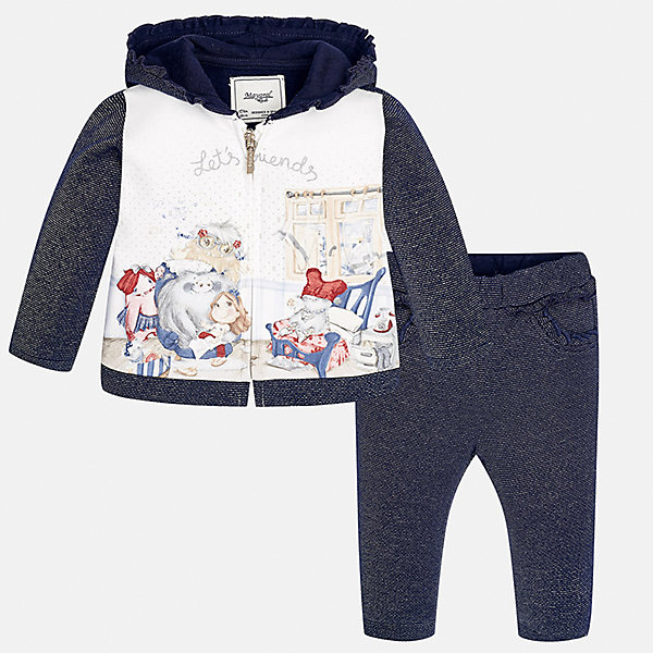 Спортивный костюм для девочки MayoralКомплекты<br>Характеристики товара:<br><br>• цвет: синий<br>• состав ткани курточки: 65% хлопок, 25% полиэстер, 8% металлизированная нить, 2% эластан<br>• состав ткани брюк: 53% хлопок, 35% полиэстер, 12% металлизированная нить<br>• комплект: курточка и брюки<br>• сезон: демисезон<br>• особенности: спортивный стиль<br>• длинные рукава<br>• застежка: молния<br>• пояс: резинка<br>• страна бренда: Испания<br>• страна изготовитель: Индия<br><br>Детский спортивный костюм - отличный вариант одежды для отдыха и занятий спортом. Курточка из спортивного комплекта дополнена капюшоном. Удобный детский спортивный костюм от известного бренда Майорал выглядит аккуратно и стильно. <br><br>Спортивный костюм для девочки Mayoral (Майорал) можно купить в нашем интернет-магазине.<br><br>Ширина мм: 247<br>Глубина мм: 16<br>Высота мм: 140<br>Вес г: 225<br>Цвет: синий<br>Возраст от месяцев: 6<br>Возраст до месяцев: 9<br>Пол: Женский<br>Возраст: Детский<br>Размер: 74,98,92,86,80<br>SKU: 6920625