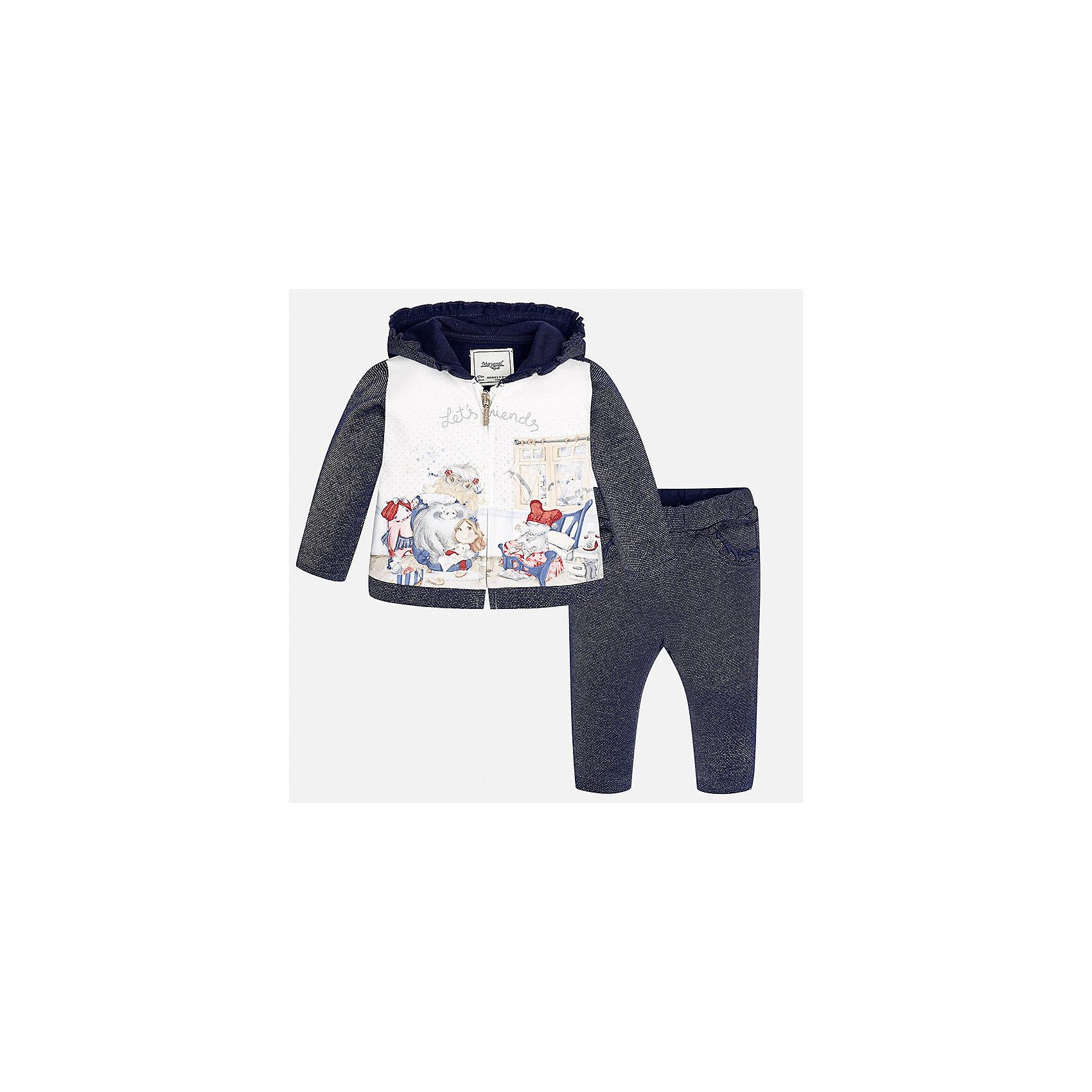 Спортивный костюм для девочки MayoralКомплекты<br>Характеристики товара:<br><br>• цвет: синий<br>• состав ткани курточки: 65% хлопок, 25% полиэстер, 8% металлизированная нить, 2% эластан<br>• состав ткани брюк: 53% хлопок, 35% полиэстер, 12% металлизированная нить<br>• комплект: курточка и брюки<br>• сезон: демисезон<br>• особенности: спортивный стиль<br>• длинные рукава<br>• застежка: молния<br>• пояс: резинка<br>• страна бренда: Испания<br>• страна изготовитель: Индия<br><br>Детский спортивный костюм - отличный вариант одежды для отдыха и занятий спортом. Курточка из спортивного комплекта дополнена капюшоном. Удобный детский спортивный костюм от известного бренда Майорал выглядит аккуратно и стильно. <br><br>Спортивный костюм для девочки Mayoral (Майорал) можно купить в нашем интернет-магазине.<br><br>Ширина мм: 247<br>Глубина мм: 16<br>Высота мм: 140<br>Вес г: 225<br>Цвет: синий<br>Возраст от месяцев: 24<br>Возраст до месяцев: 36<br>Пол: Женский<br>Возраст: Детский<br>Размер: 98,74,80,86,92<br>SKU: 6920625