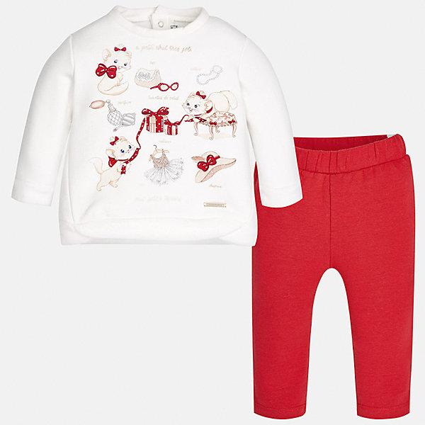 Спортивный костюм Mayoral для девочкиКомплекты<br>Характеристики товара:<br><br>• цвет: красный<br>• состав ткани лонгслива: 65% хлопок, 30% полиэстер, 5% эластан<br>• состав ткани леггинсов: 95% хлопок, 5% эластан<br>• комплект: лонгслив и леггинсы<br>• сезон: демисезон<br>• особенности: спортивный стиль<br>• длинные рукава<br>• застежка: кнопки<br>• пояс: резинка<br>• страна бренда: Испания<br>• страна изготовитель: Индия<br><br>В детском спортивном костюме от испанской компании Майорал ребенок будет выглядеть модно, а чувствовать себя - комфортно. Спортивный костюм для ребенка сделан материала с преобладанием натурального хлопка в составе. Серый комплект для занятий спортом хорошо сидит по фигуре.<br><br>Спортивный костюм для девочки Mayoral (Майорал) можно купить в нашем интернет-магазине.<br><br>Ширина мм: 247<br>Глубина мм: 16<br>Высота мм: 140<br>Вес г: 225<br>Цвет: красный<br>Возраст от месяцев: 6<br>Возраст до месяцев: 9<br>Пол: Женский<br>Возраст: Детский<br>Размер: 74,98,92,86,80<br>SKU: 6920631