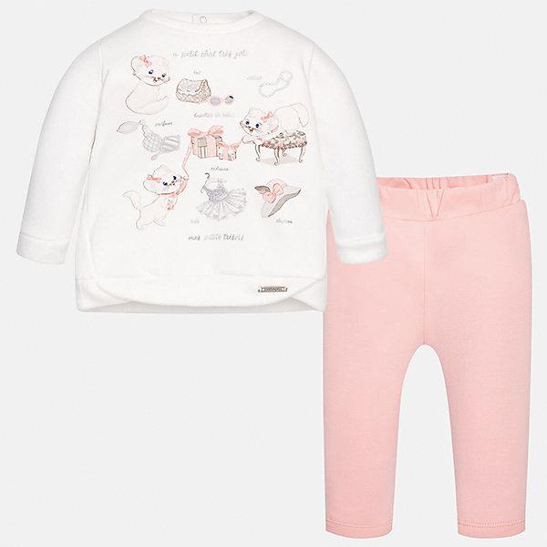 Комплект: футболка с длинным рукавом и леггинсы Mayoral для девочкиКомплекты<br>Характеристики товара:<br><br>• цвет: розовый<br>• состав ткани лонгслива: 65% хлопок, 30% полиэстер, 5% эластан<br>• состав ткани леггинсов: 95% хлопок, 5% эластан<br>• комплект: лонгслив и леггинсы<br>• сезон: демисезон<br>• особенности: спортивный стиль<br>• длинные рукава<br>• застежка: кнопки<br>• пояс: резинка<br>• страна бренда: Испания<br>• страна изготовитель: Индия<br><br>Европейские дизайнеры работали над созданием этого детского спортивного костюма. Спортивный костюм для ребенка сшит из качественного материала с преобладанием натурального хлопка в составе. Модный комплект для занятий спортом состоит из лонгслива и леггинсов.<br><br>Спортивный костюм для девочки Mayoral (Майорал) можно купить в нашем интернет-магазине.<br><br>Ширина мм: 247<br>Глубина мм: 16<br>Высота мм: 140<br>Вес г: 225<br>Цвет: светло-розовый<br>Возраст от месяцев: 6<br>Возраст до месяцев: 9<br>Пол: Женский<br>Возраст: Детский<br>Размер: 74,98,92,86,80<br>SKU: 6920637