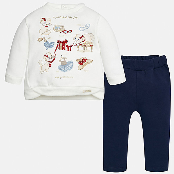 Купить Комплект: футболка с длинным рукавом и леггинсы Mayoral для девочки, Китай, синий, 98, 92, 86, 80, 74, Женский